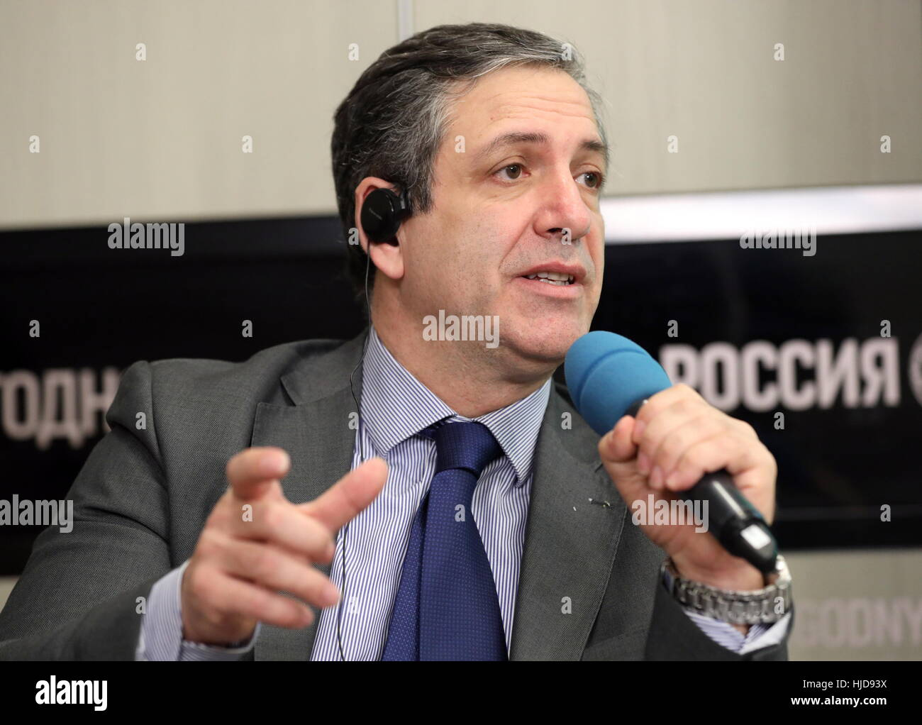 Moscow, Russia. 24th Jan, 2017. European Weightlifting Federation (EWF) President Antonio Urso speaks at a press Stock Photo