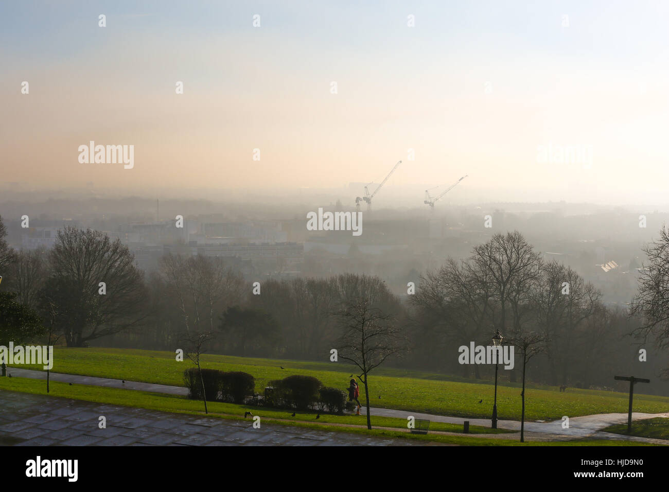 Alexandra Palace, North London, UK. 24th Jan, 2017. UK Weather. View of London from Alexandra Palace, North London - Stock Image