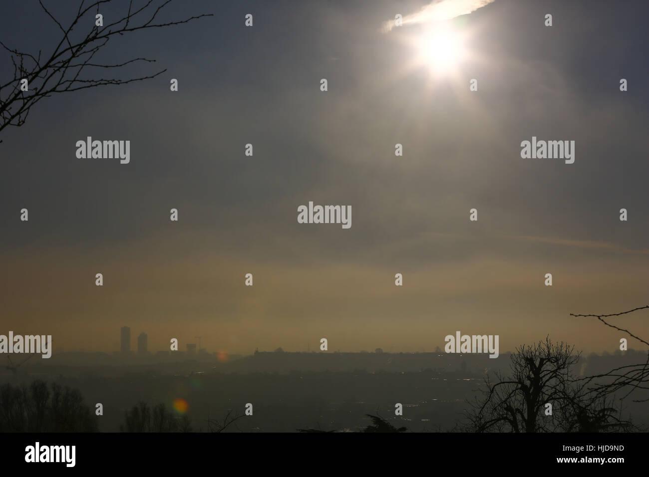Alexandra Palace, North London, UK. 24th Jan, 2017. UK Weather. View of London from Alexandra Palace, North London - Stock Image