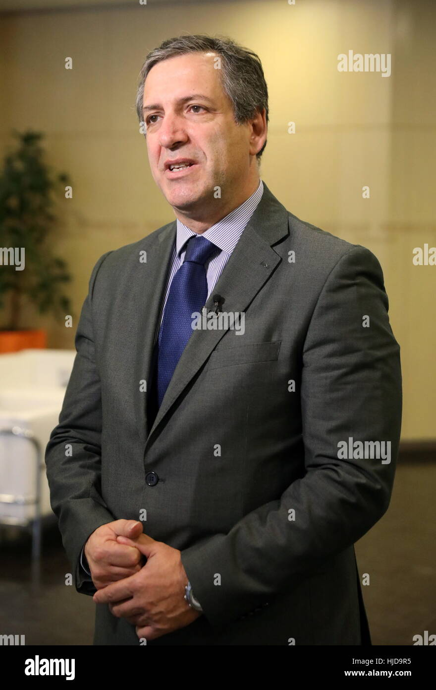 MOSCOW, RUSSIA - JANUARY 24, 2017: European Weightlifting Federation (EWF) President Antonio Urso after a press Stock Photo