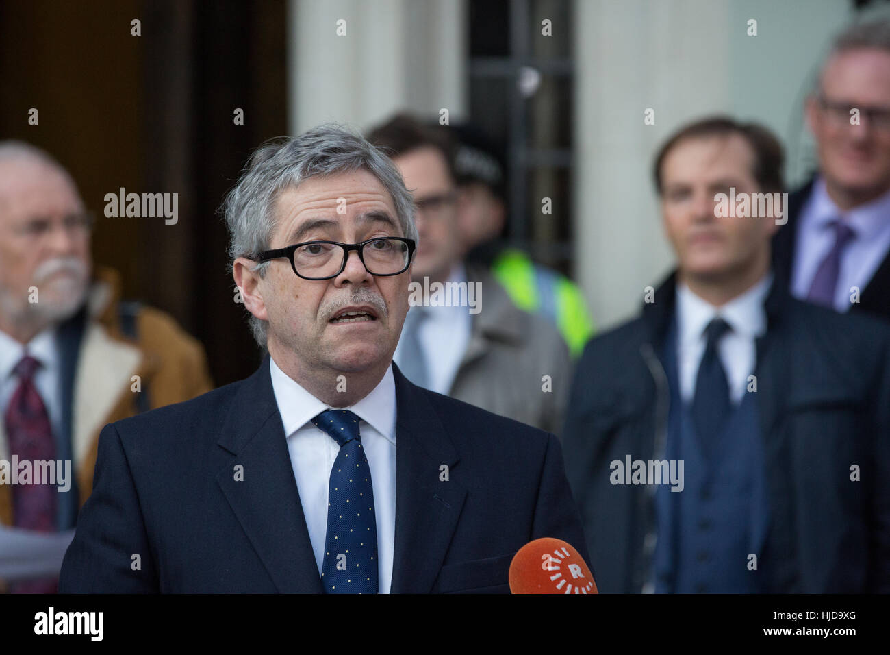 London, UK. 24th Jan, 2017. David Green, lawyer for Deir dos Santos, makes a statement following the Article 50 - Stock Image