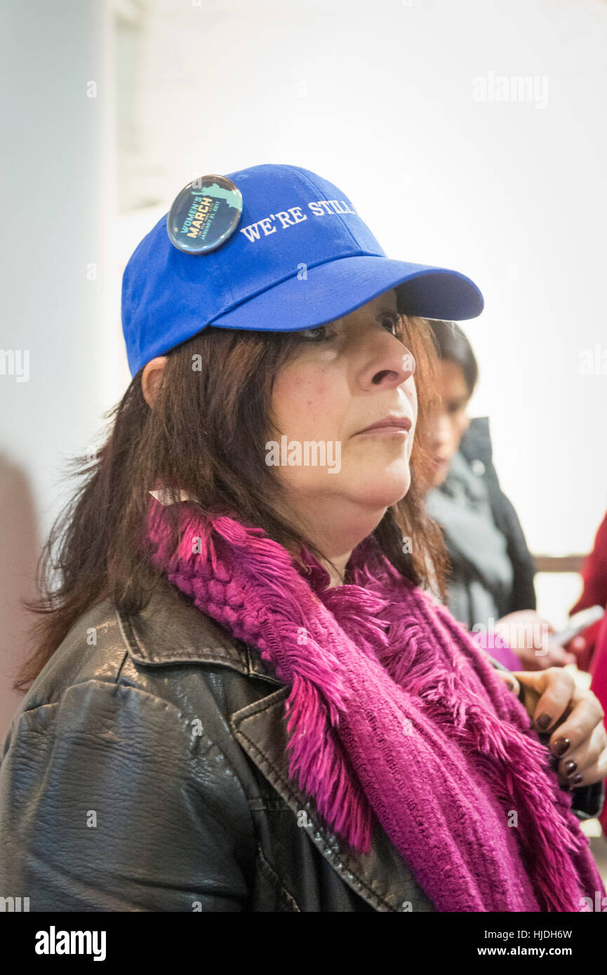 "Melville, New York, USA. 24th January 2017. ANDREA ROSS BOYLE, of Dix Hills, is wearing a ""WE'RE STILL HERE"" blue Stock Photo"