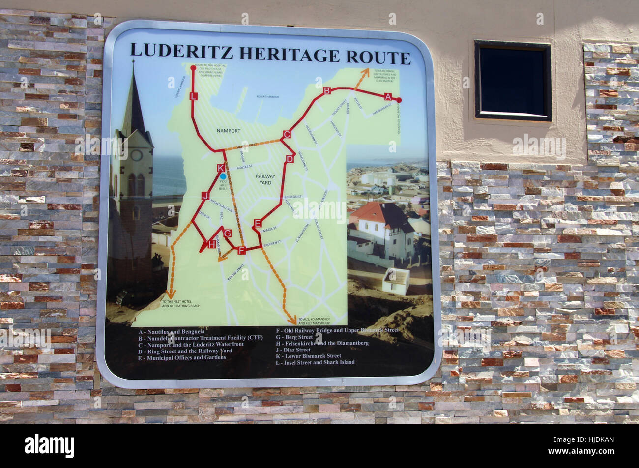Tourist information map at Luderitz in Namibia Stock Photo