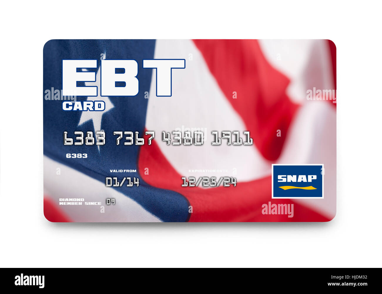 Government EBT Snap Card Isolated on White Background. - Stock Image