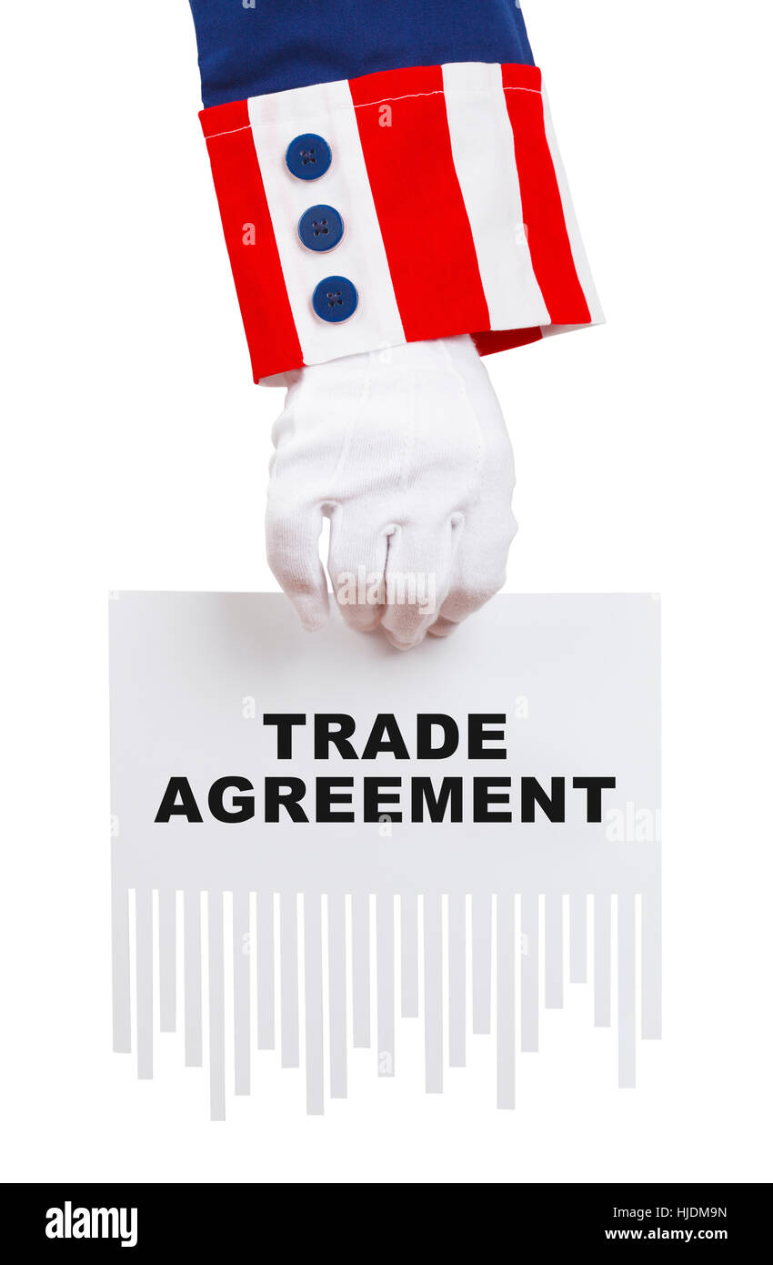 Uncle Sam Shredding Trade Agreement Isolated on White. - Stock Image