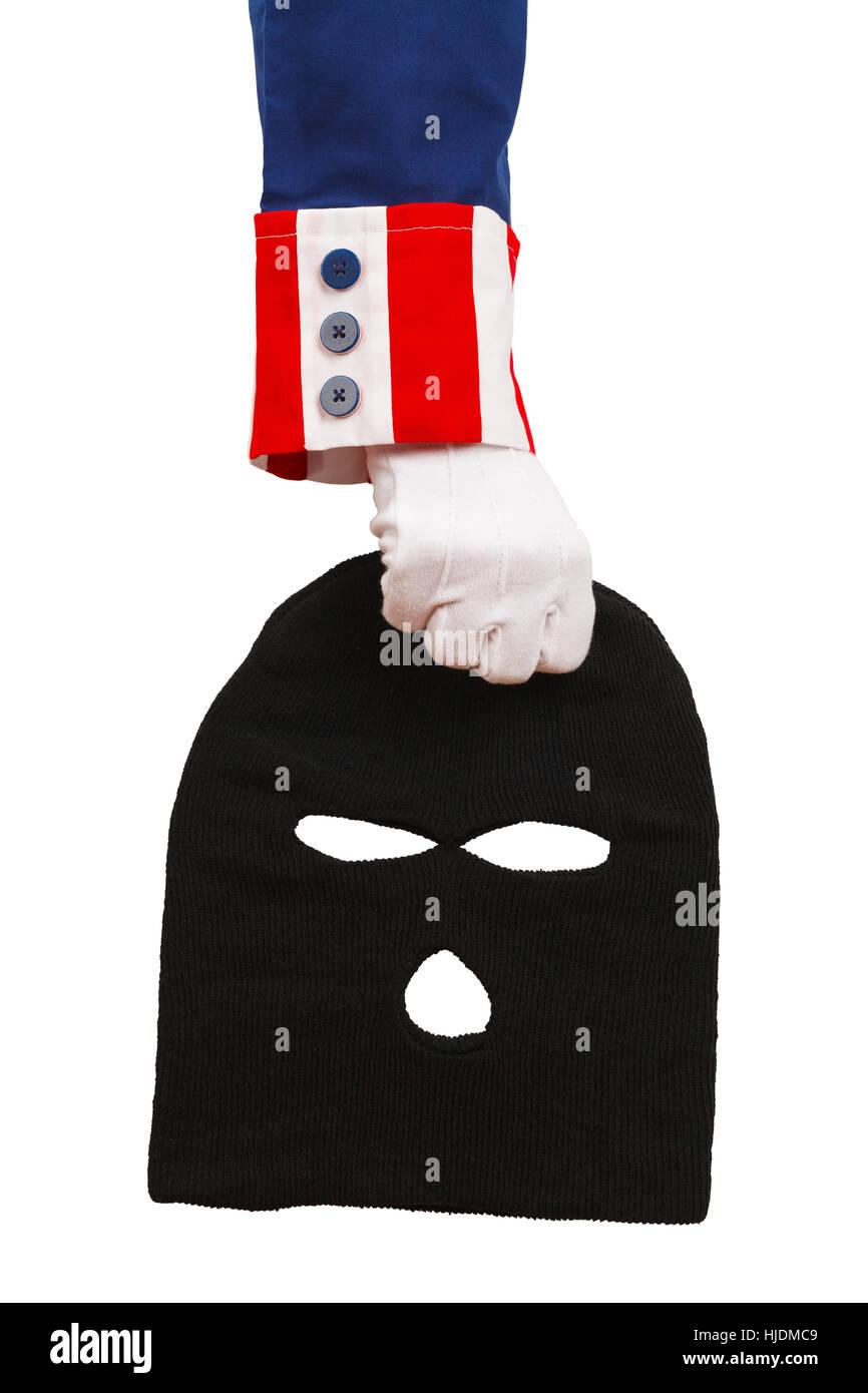 President Holding a Black Ski Mask Isolated on White Background. - Stock Image