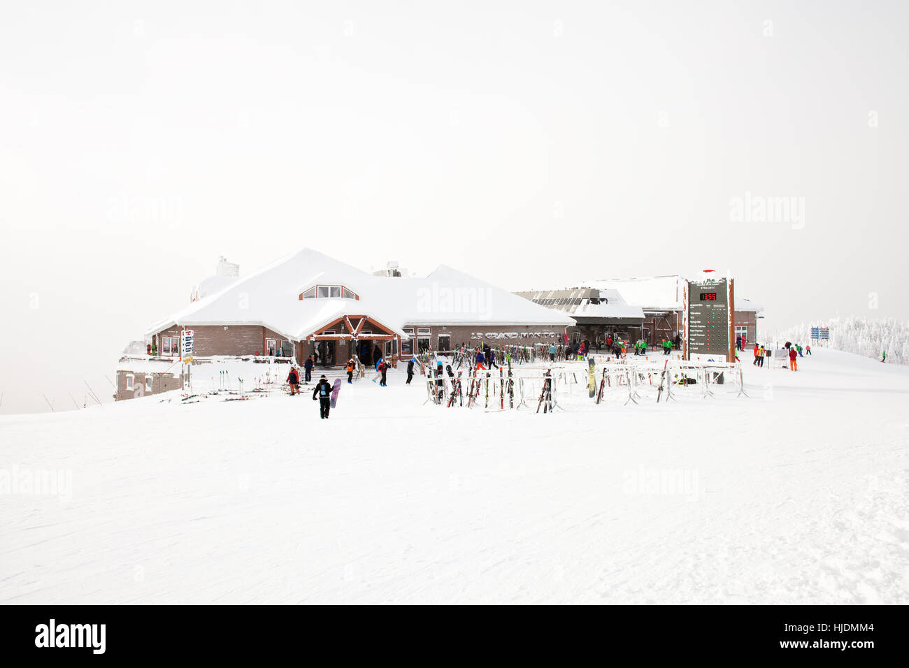 Mont Tremblant Resort in the winter, The Summit - Stock Image