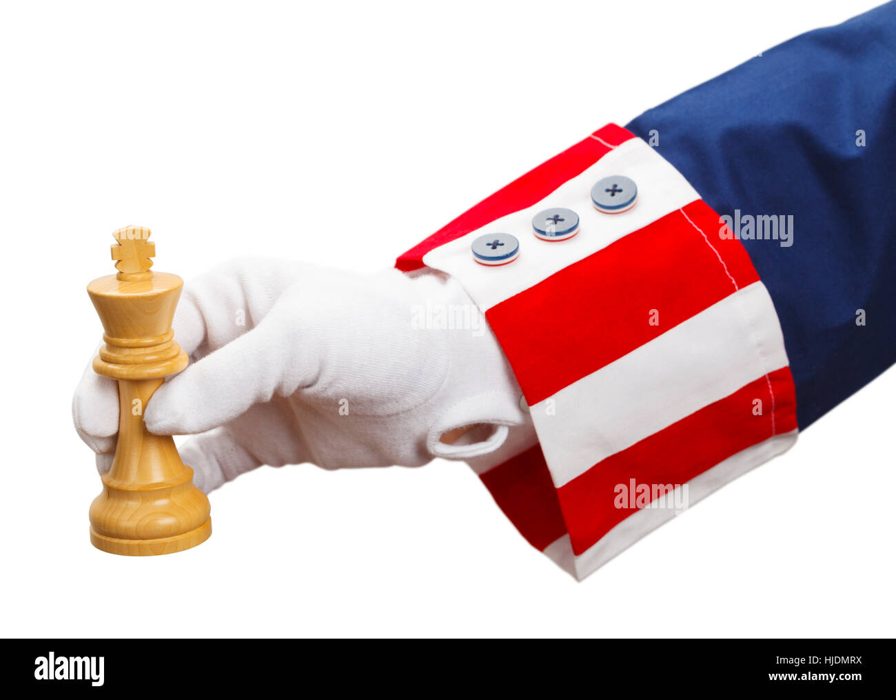 President Playing Chess with King Isolated on White Background. - Stock Image