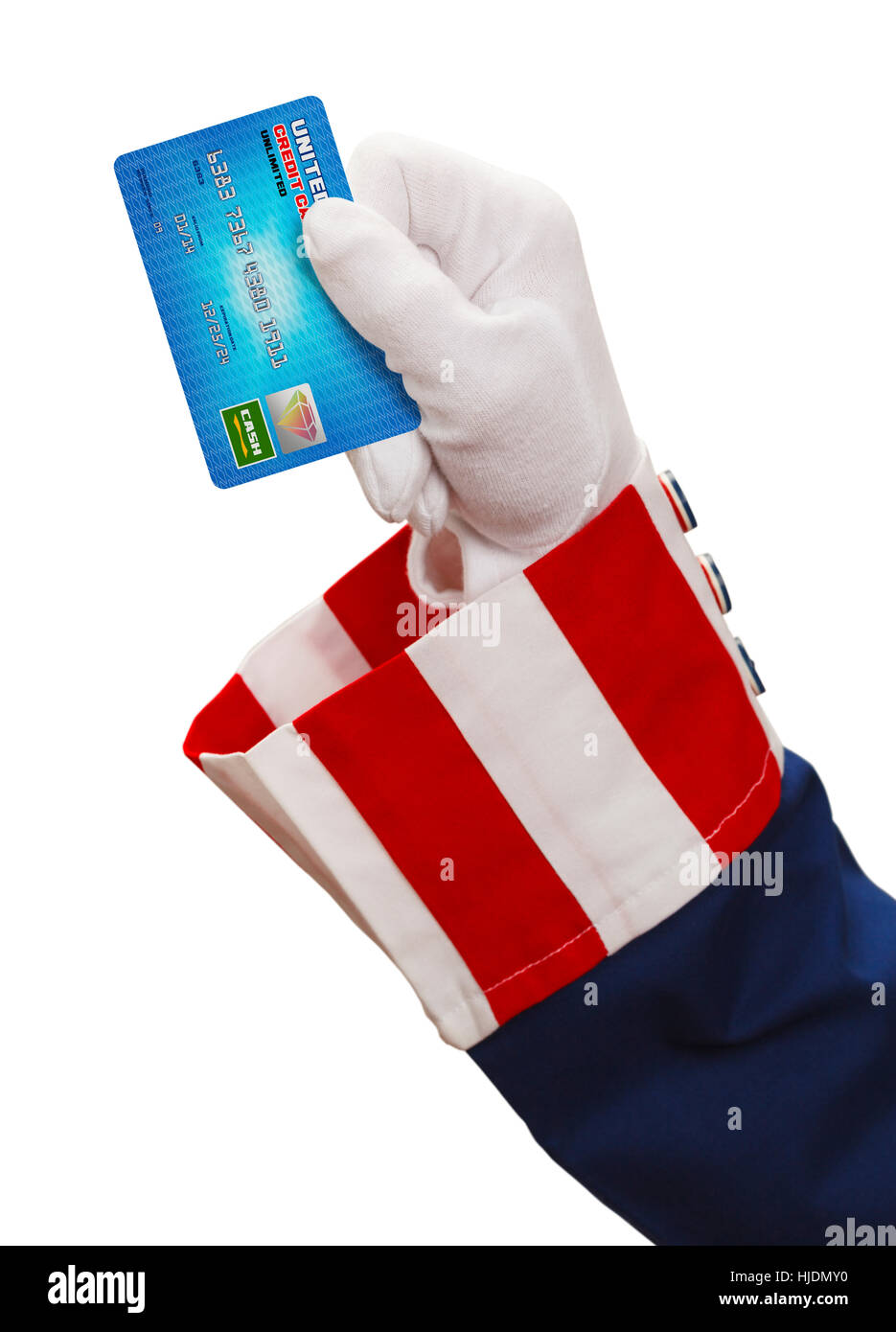 President Holding Up a Credit Card Isolated on White Background. - Stock Image