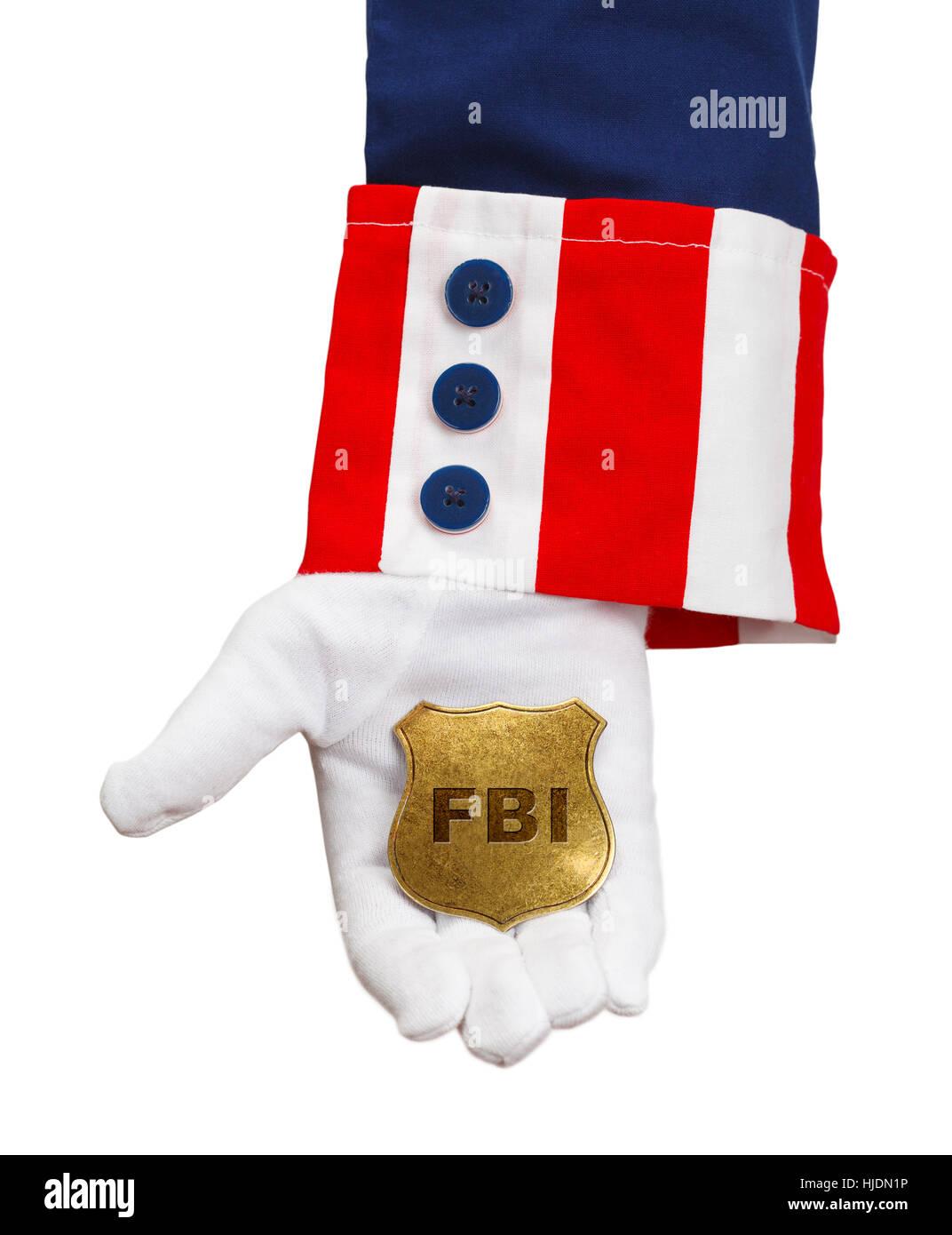 President Holding FBI Badge Isolated on White. - Stock Image