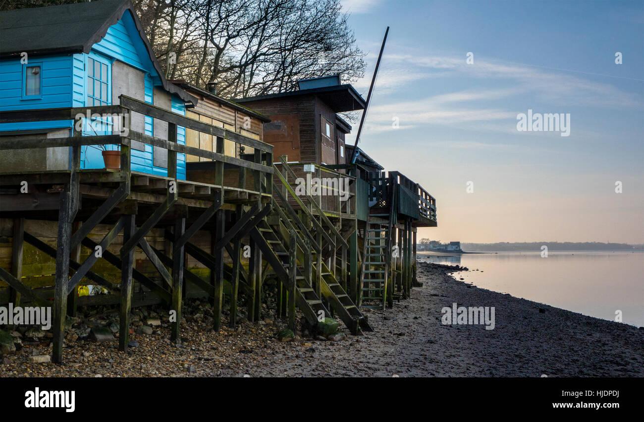 beach house River Stour estuary Wrabness, Essex England UK - Stock Image