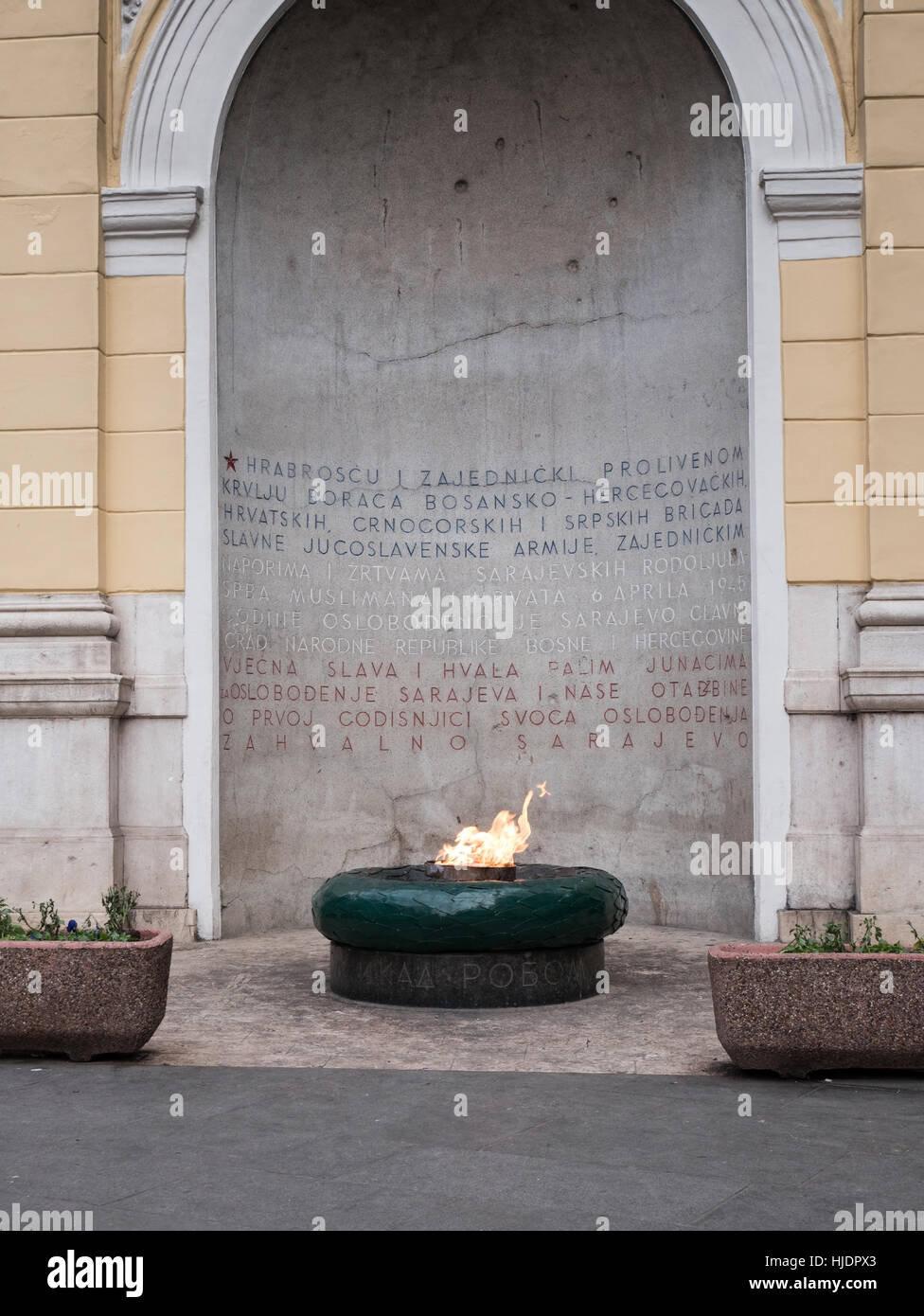 The Eternal Flame monument in Sarajevo , Bosnia and Herzegovina - Stock Image