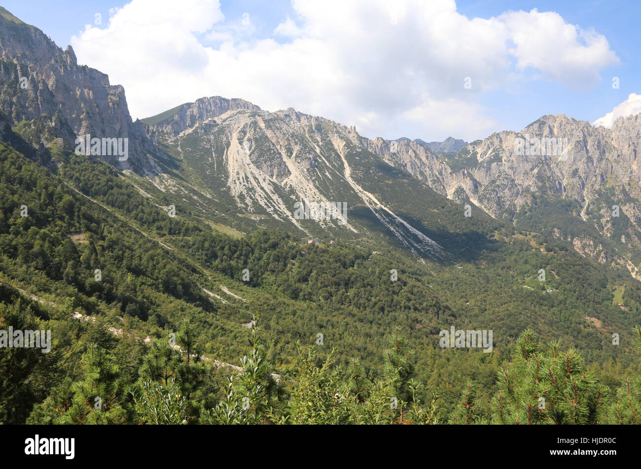 wide landscape of italian mountains called Venetian Prealps in the province of Vicenza in Italy - Stock Image
