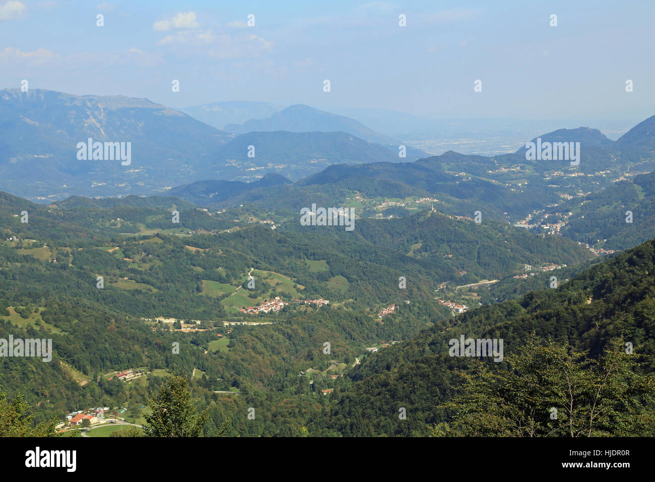 breathtaking views of the valley and the mountains to the city of Vicenza in northern Italy - Stock Image