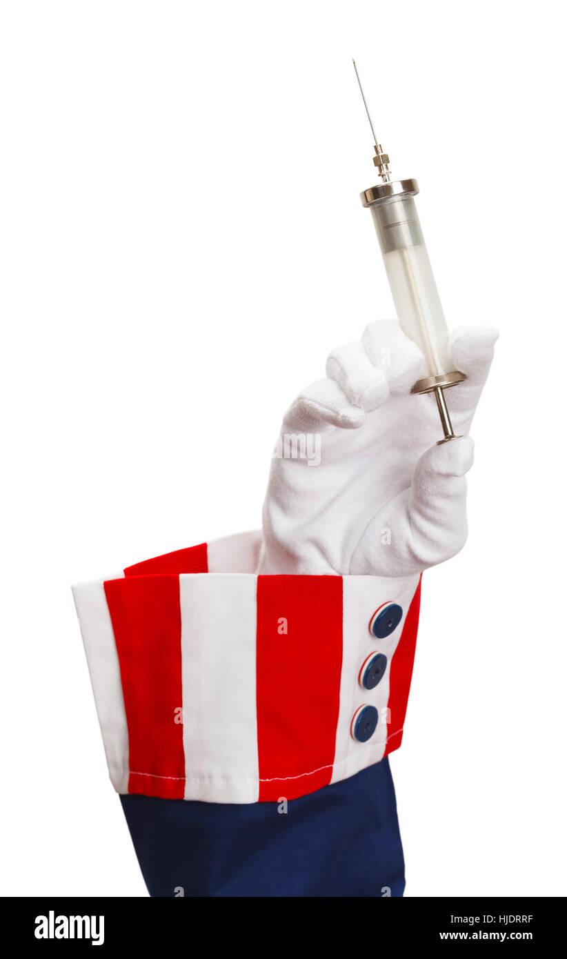 President Holding Syringe and Needle Isolated on White. - Stock Image