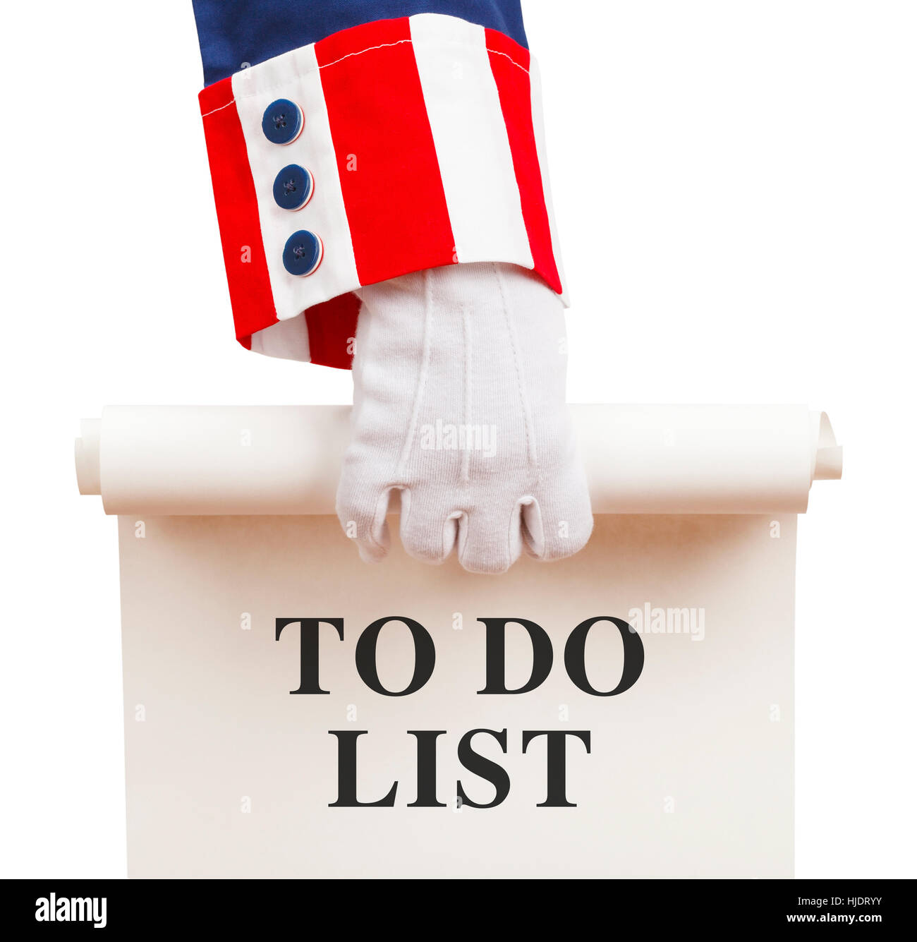 President Holding a to Do List Agenda Isolated on White Background. - Stock Image