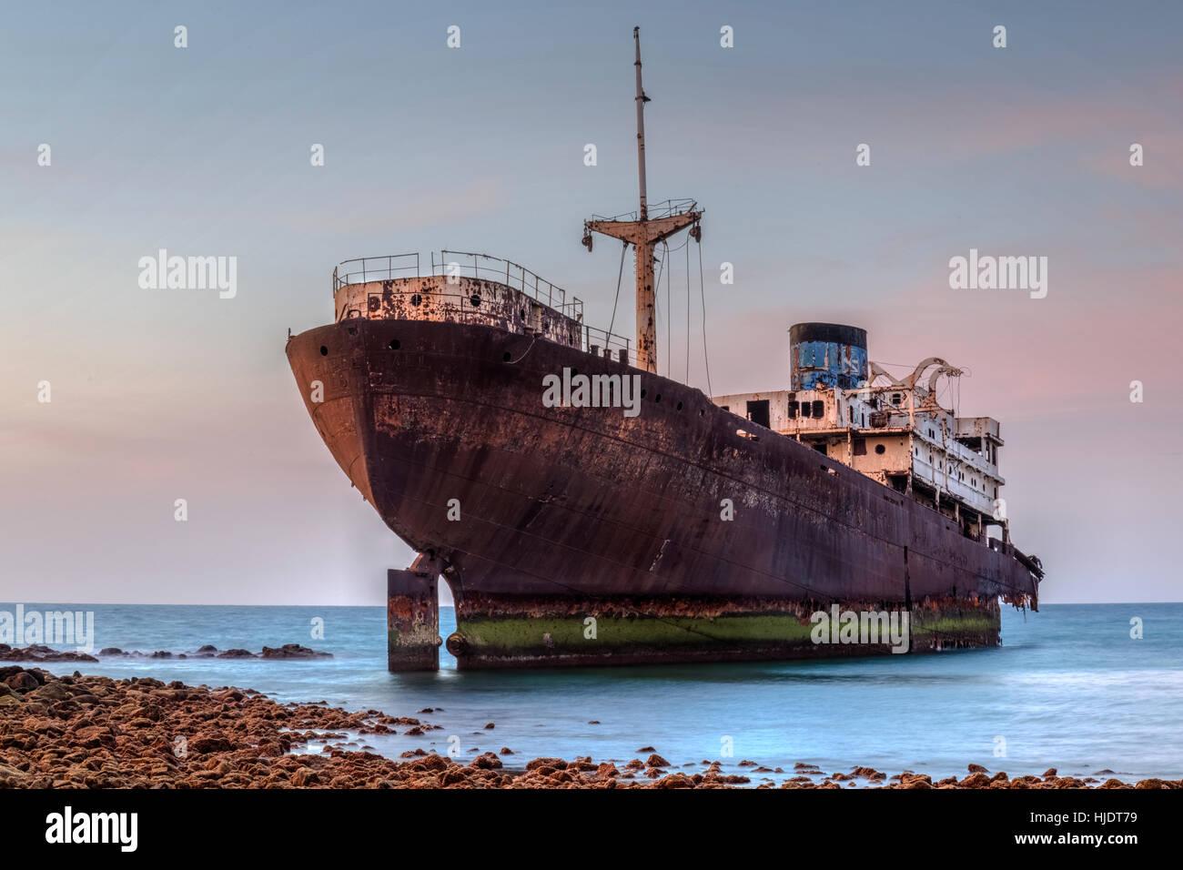 Shipwreck Temple Hall, Arrecife, Lanzarote, Canary Islands, Spain - Stock Image