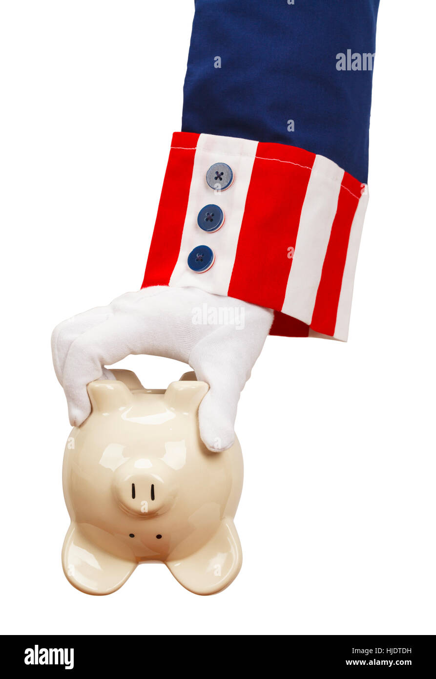 President Holding Empty Piggy Bank Isolated on White Background. - Stock Image