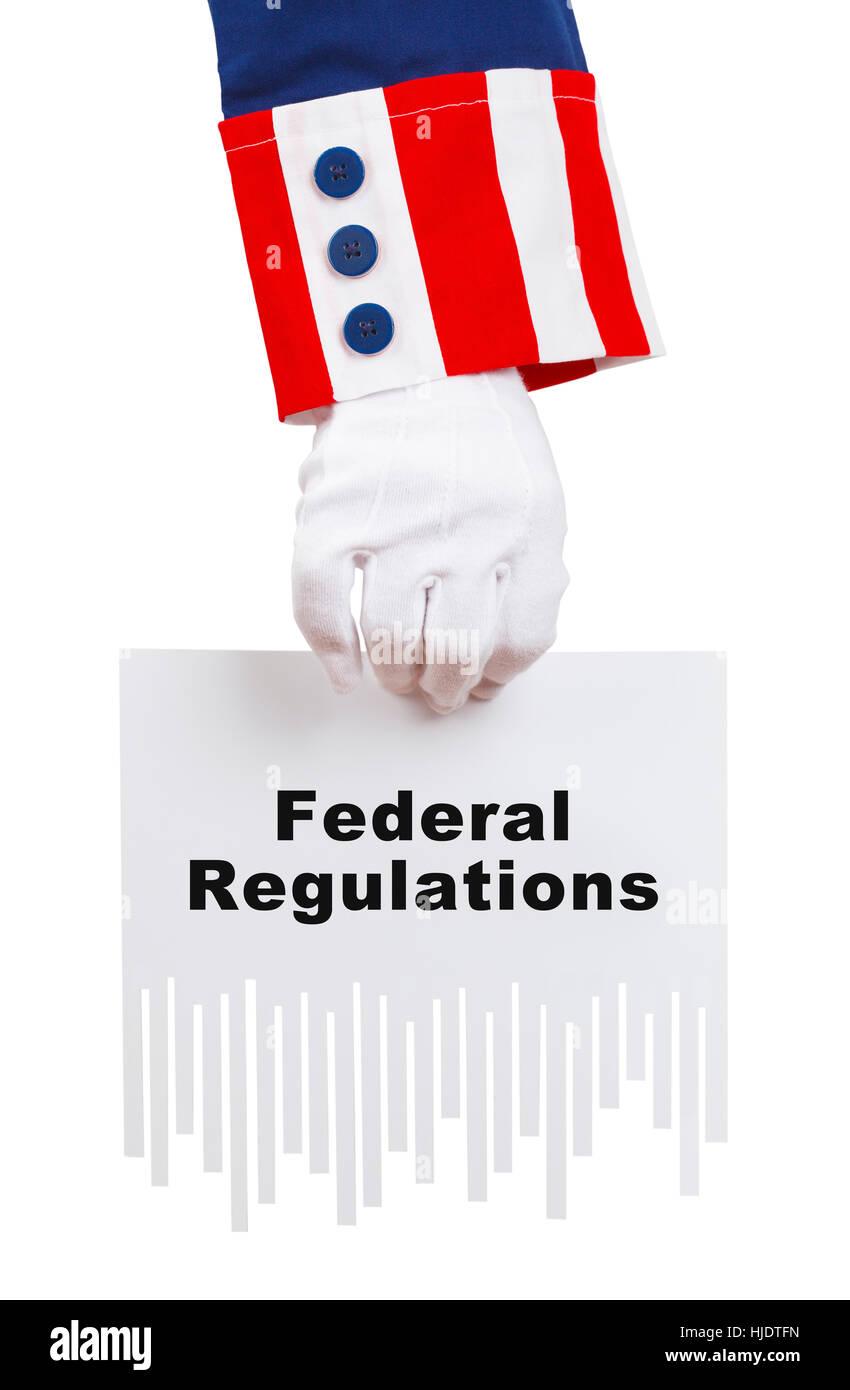 President Holding Shredded Federal Regulations Isolated on White. - Stock Image