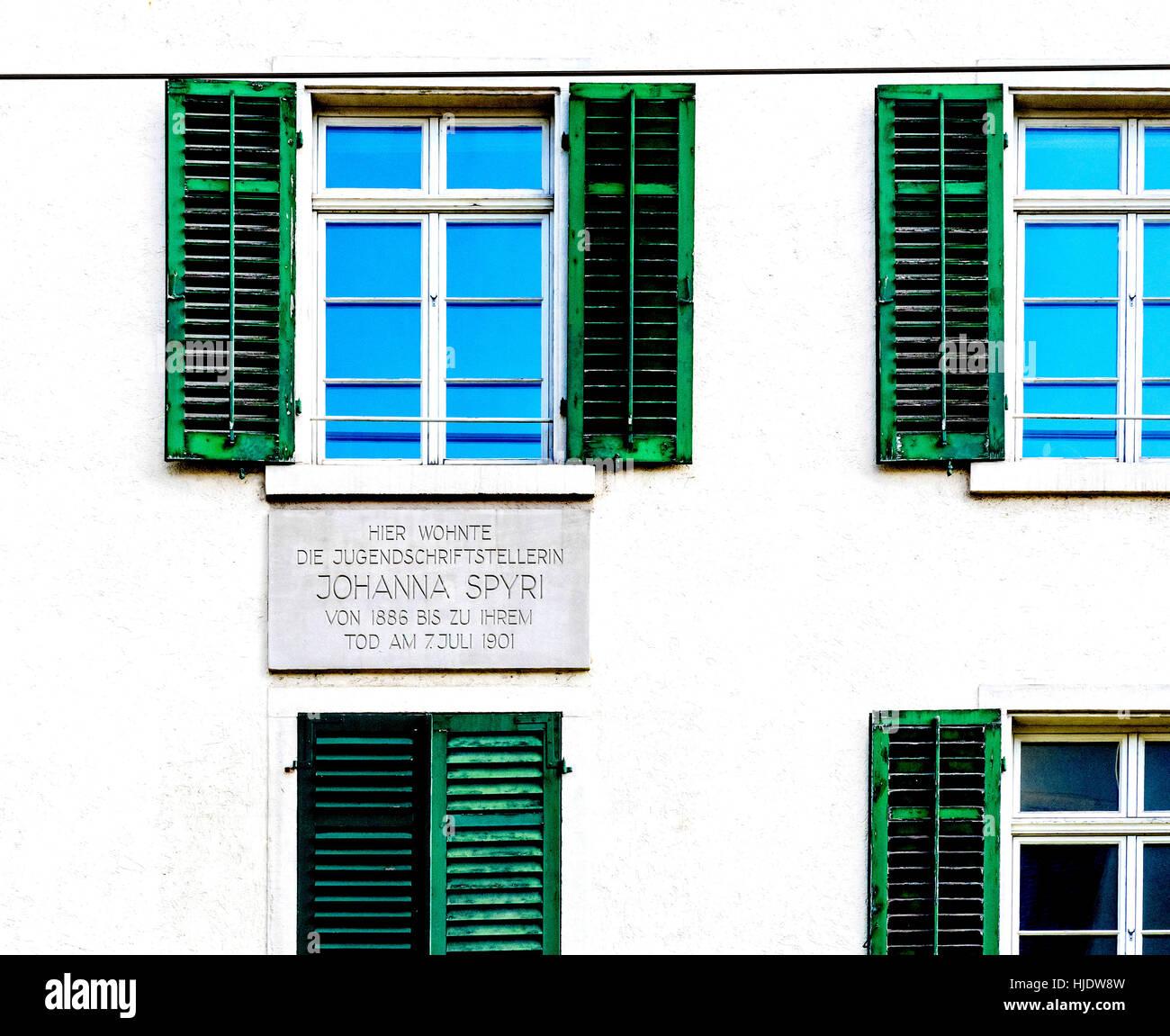 Last home of Johanna Spyri, author of Heidi; Zuerich, Zeltweg; letzte Wohnung Johanna Spyri (Autorin von Heidi), - Stock Image