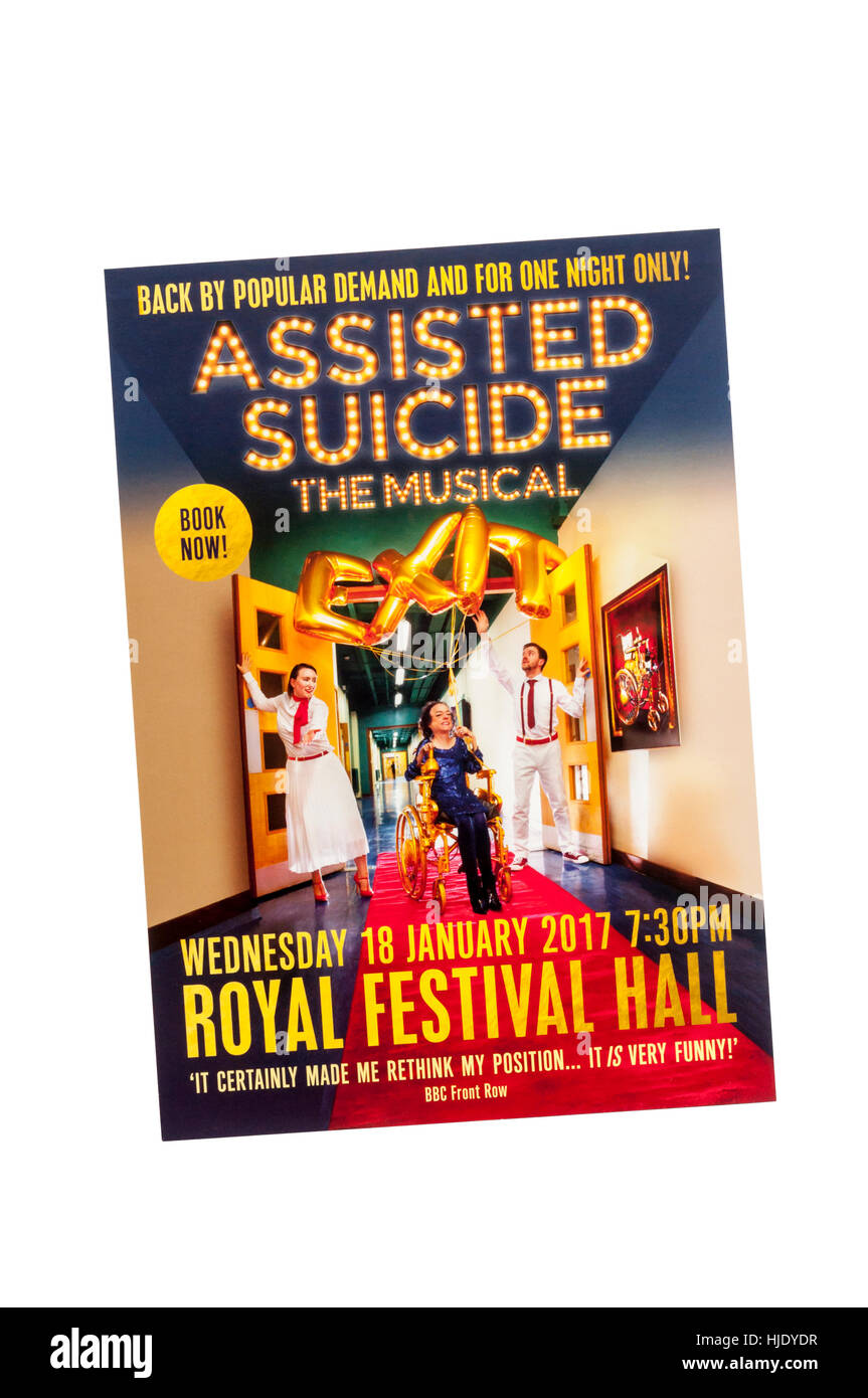 Promotional flyer for 2017 production of Assisted Suicide - The Musical with Liz Carr at the Royal Festival Hall. - Stock Image