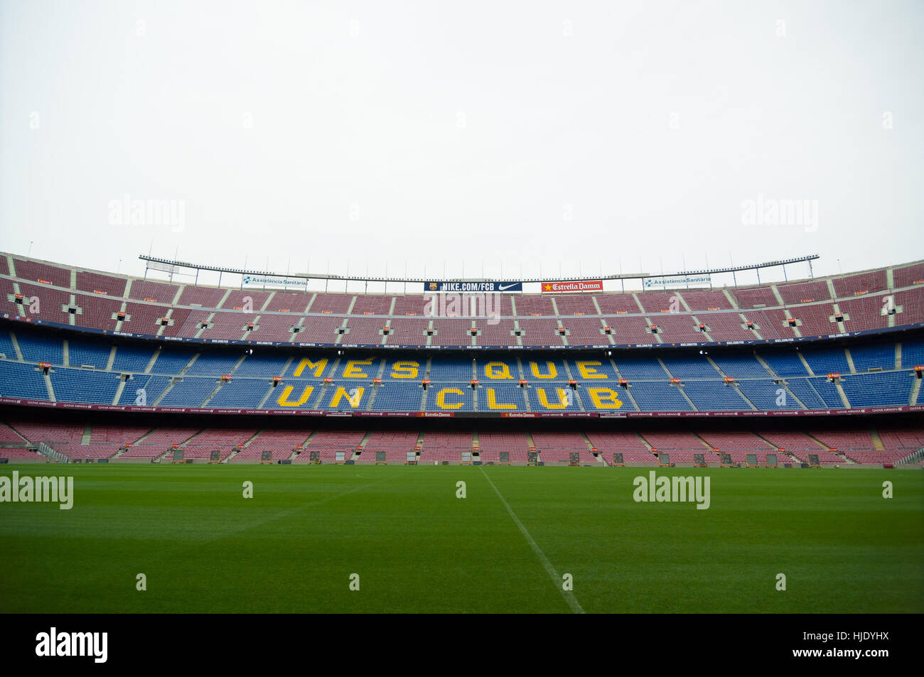 Barcelona, Spain - September 22, 2014: One of the stands displaying Barcelona's motto, Mes que un club, meaning - Stock Image