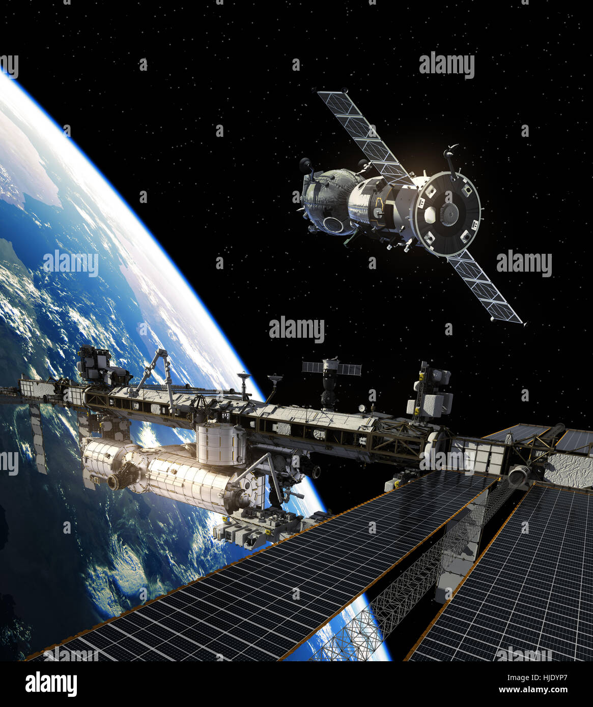 International Space Station And Spacecraft - Stock Image