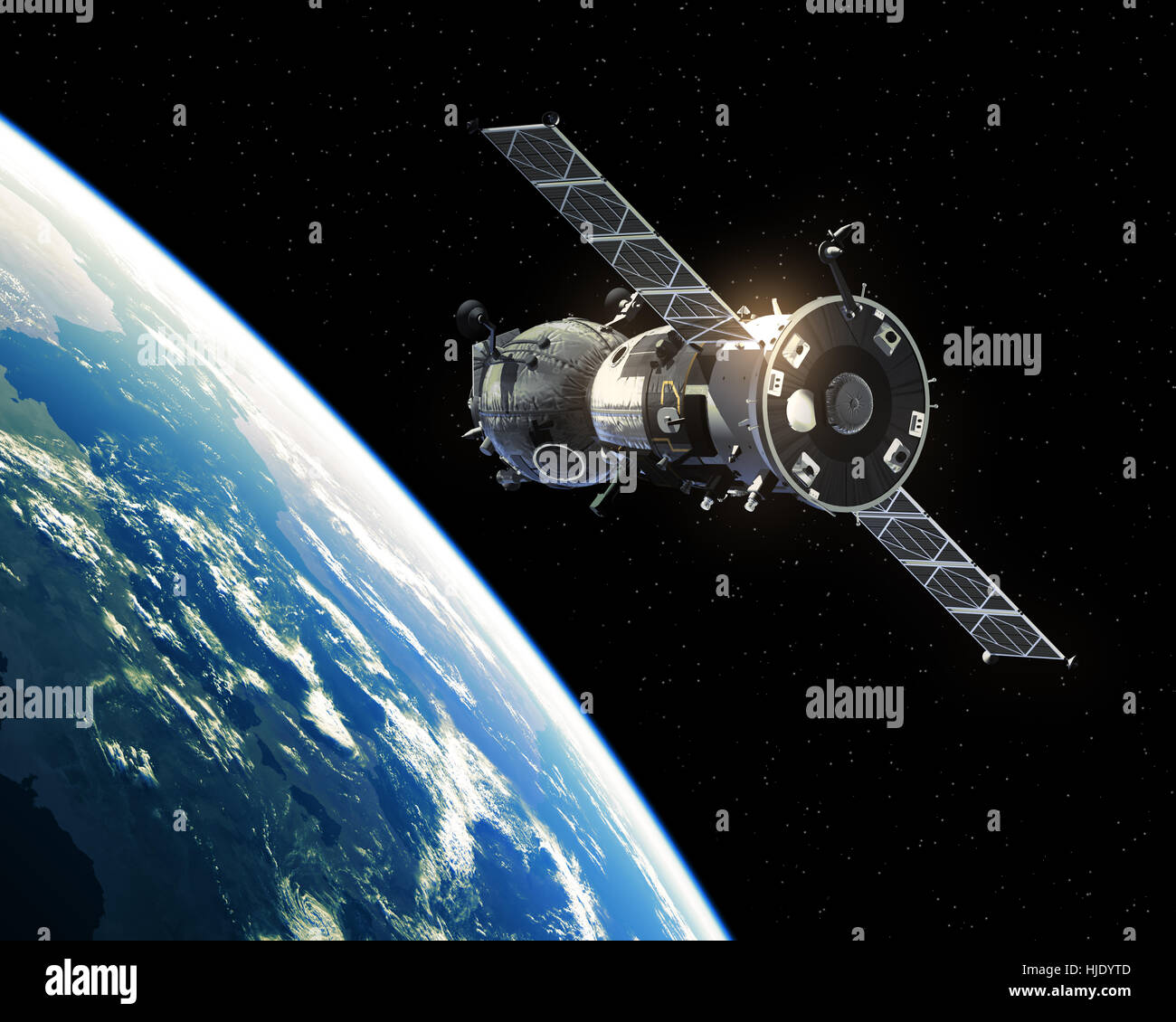 Spacecraft Orbiting Earth - Stock Image