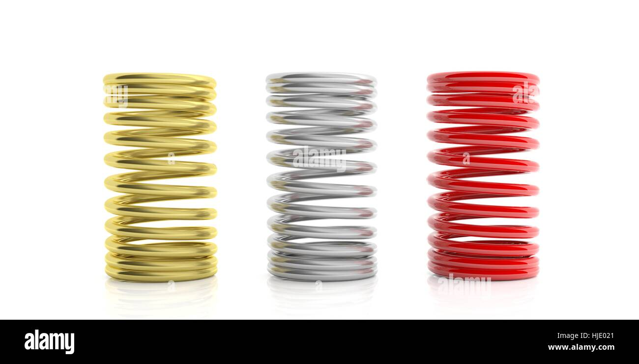 Metal springs isolated on white background. 3d illustration Stock Photo