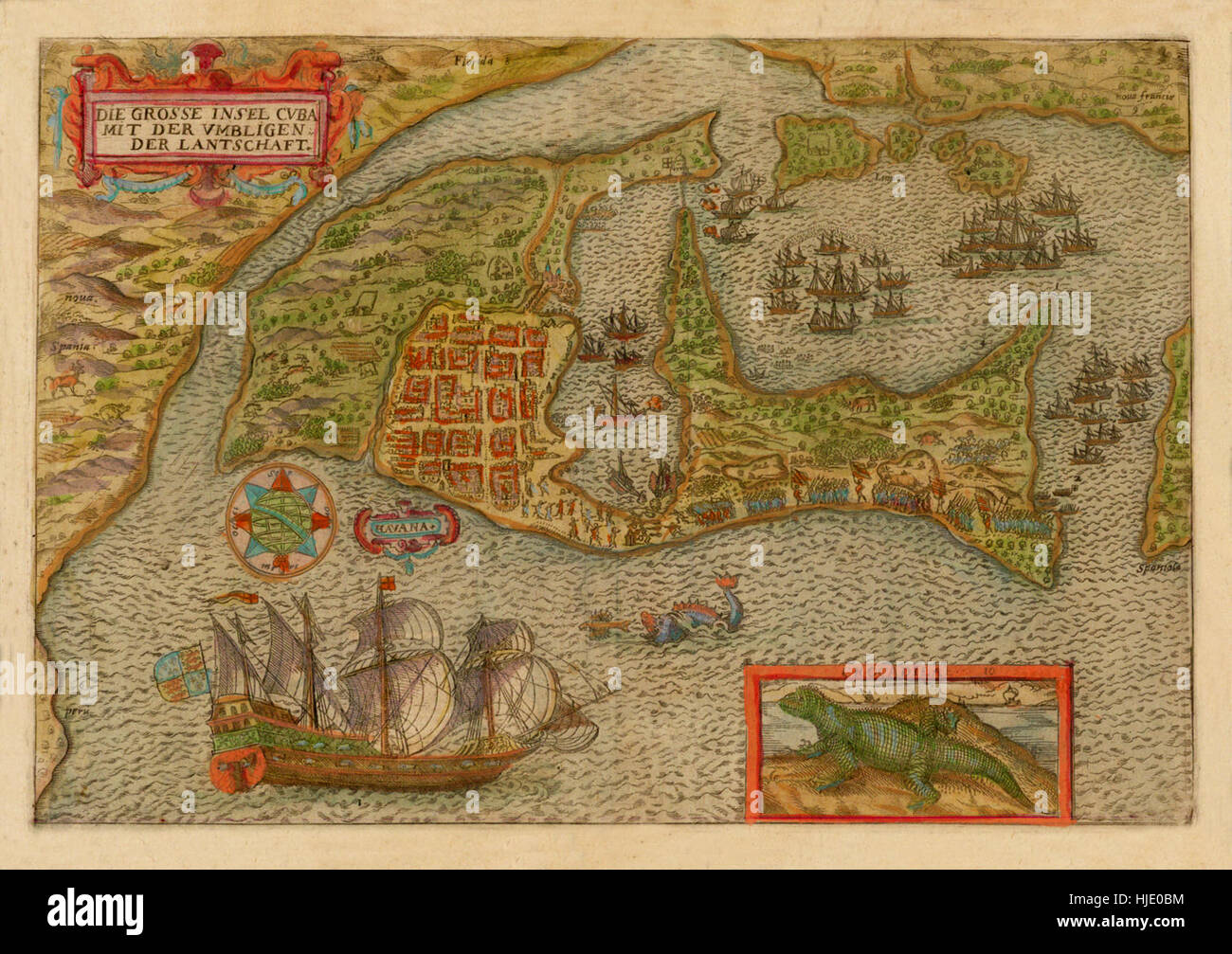 Antique Map Of Cuba Stock Photos Antique Map Of Cuba Stock Images - Vintage map of cuba