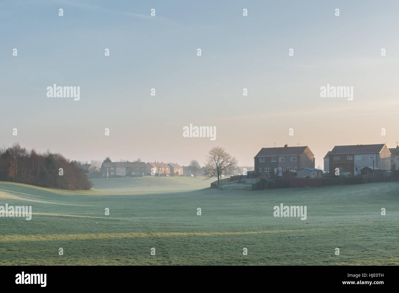council housing next to green open space - Camelon, Camelon West ward, Falkirk, Scotland, UK - Stock Image