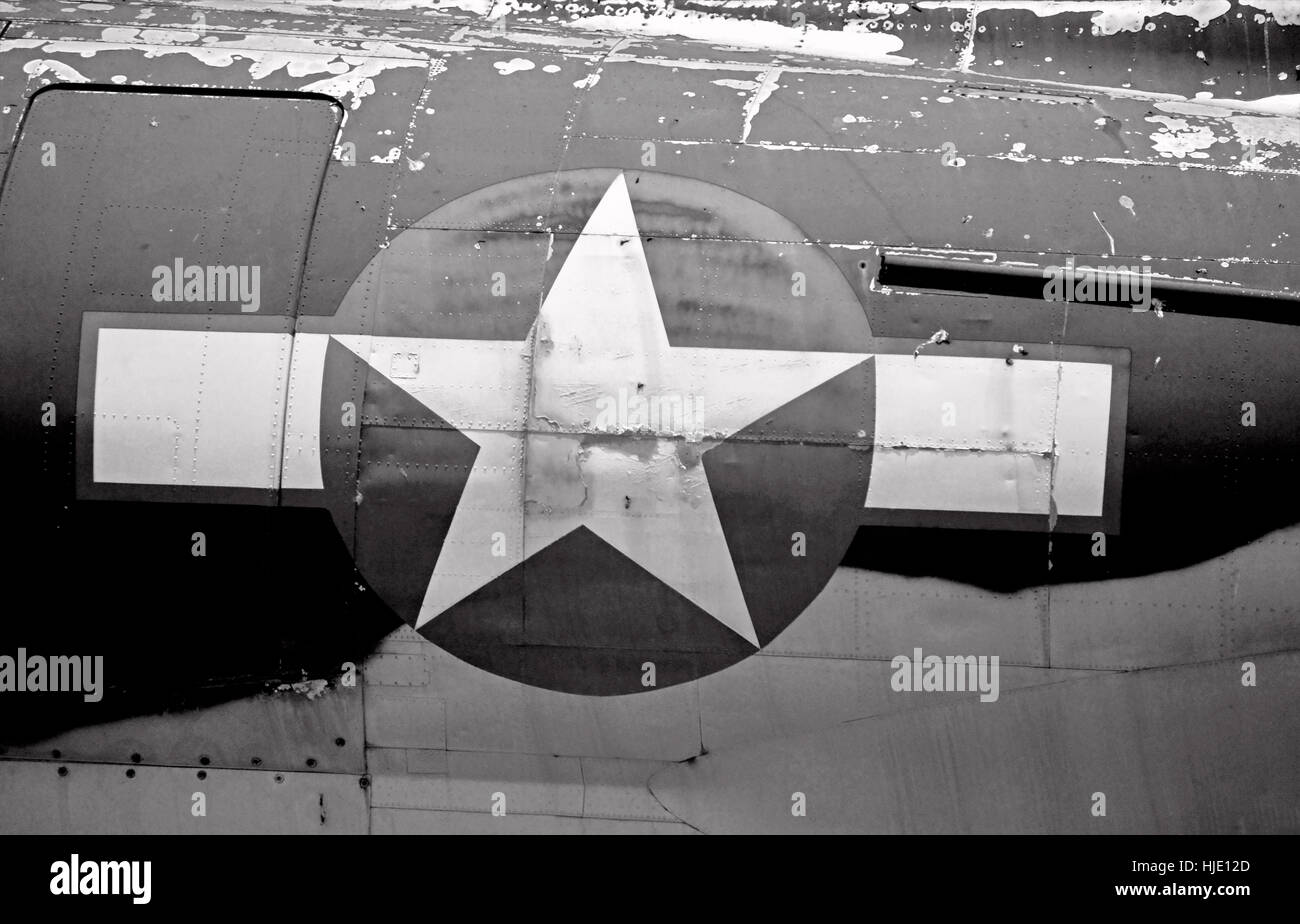 An old navy flight logo on a vintage plane. - Stock Image