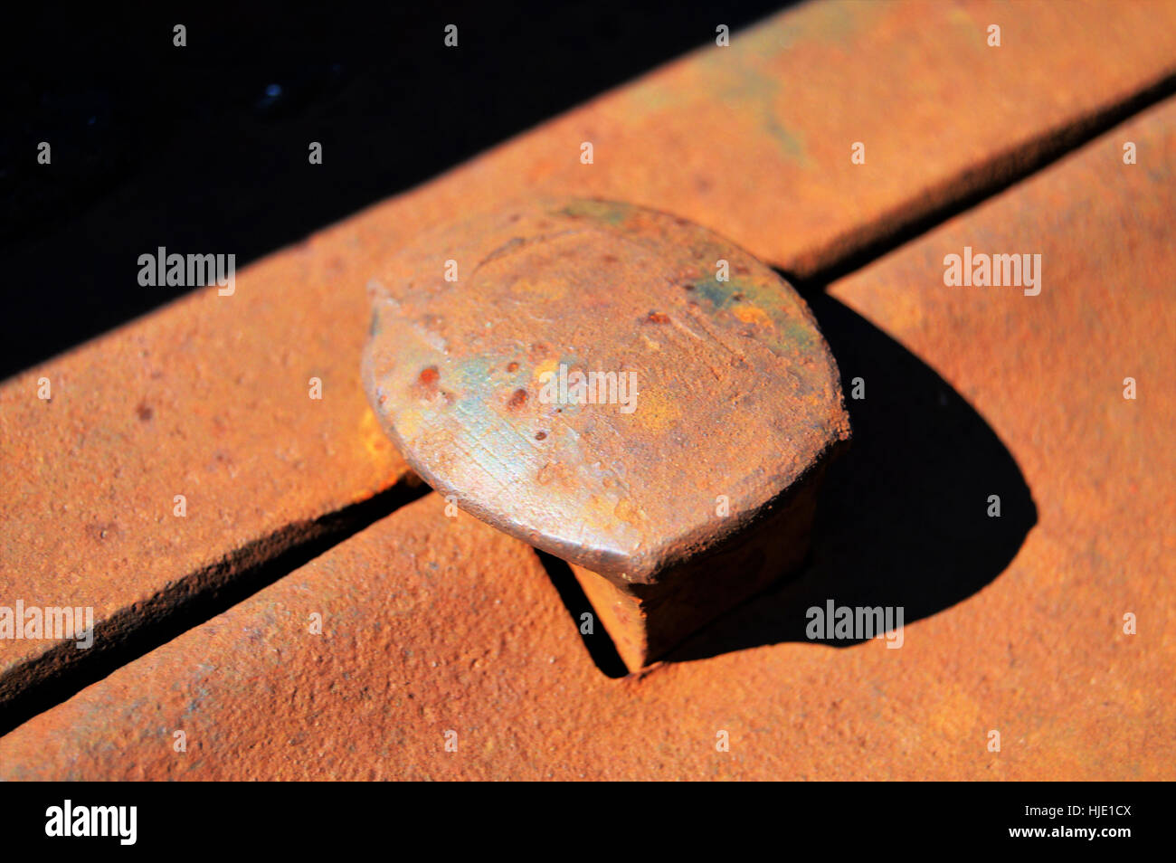 Closeup of an rusty iron railroad nail in its holder. Concept: railroads - Stock Image