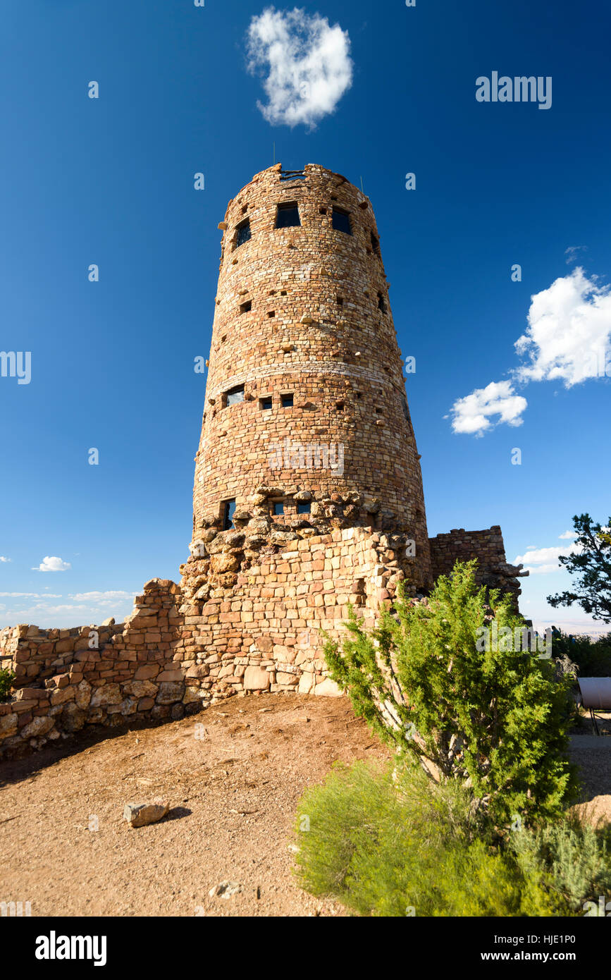 Desert View Watchtower, is a 70-foot-high stone building located on the South Rim of the Grand Canyon National Park, - Stock Image