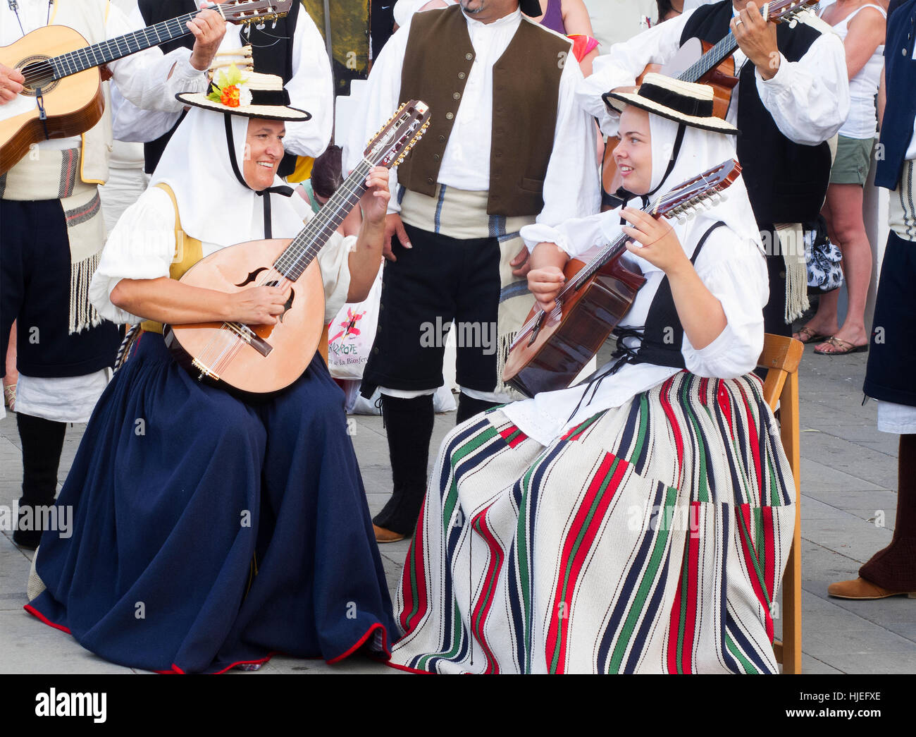 Canarian traditional Folk and Dance performers at Teguise Market Lanzarote - Stock Image