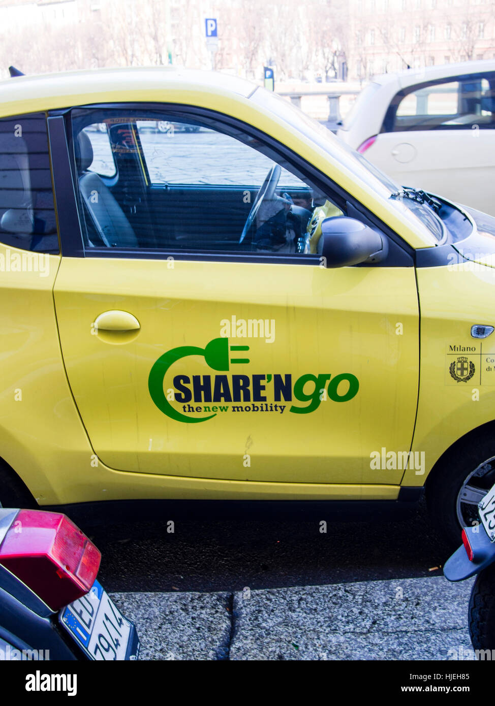 Share and go car rental service, Milan, Italy - Stock Image