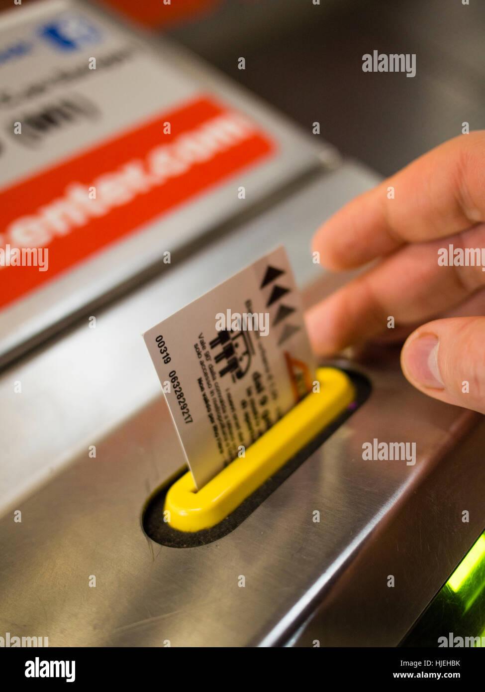 Ticket validation at the Milan Metro - Subway. - Stock Image