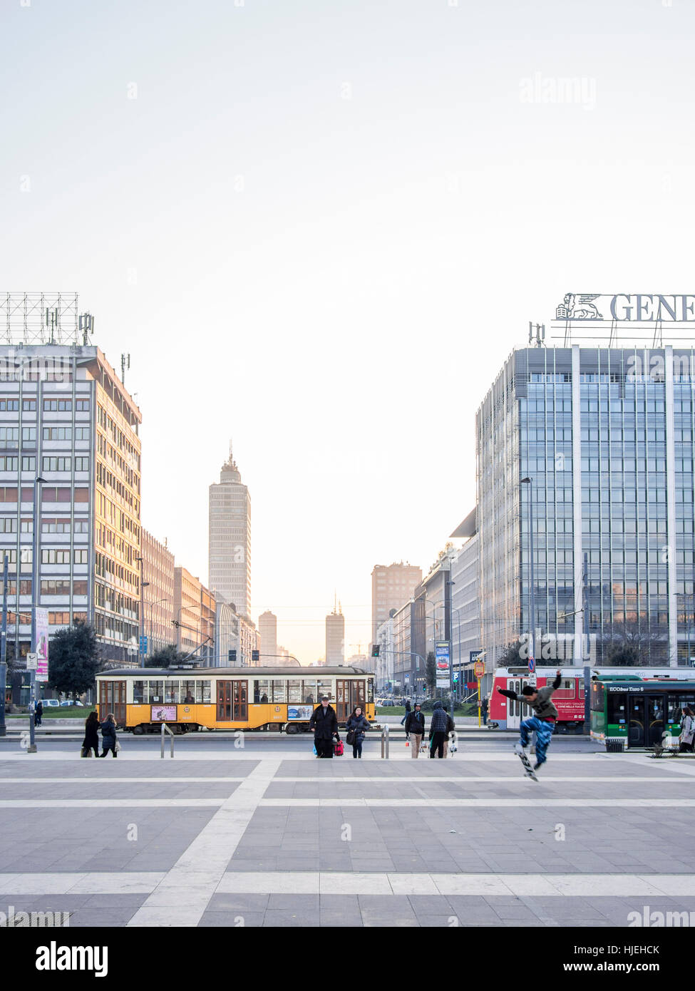 Milano Centrale Train Station at dusk. - Stock Image