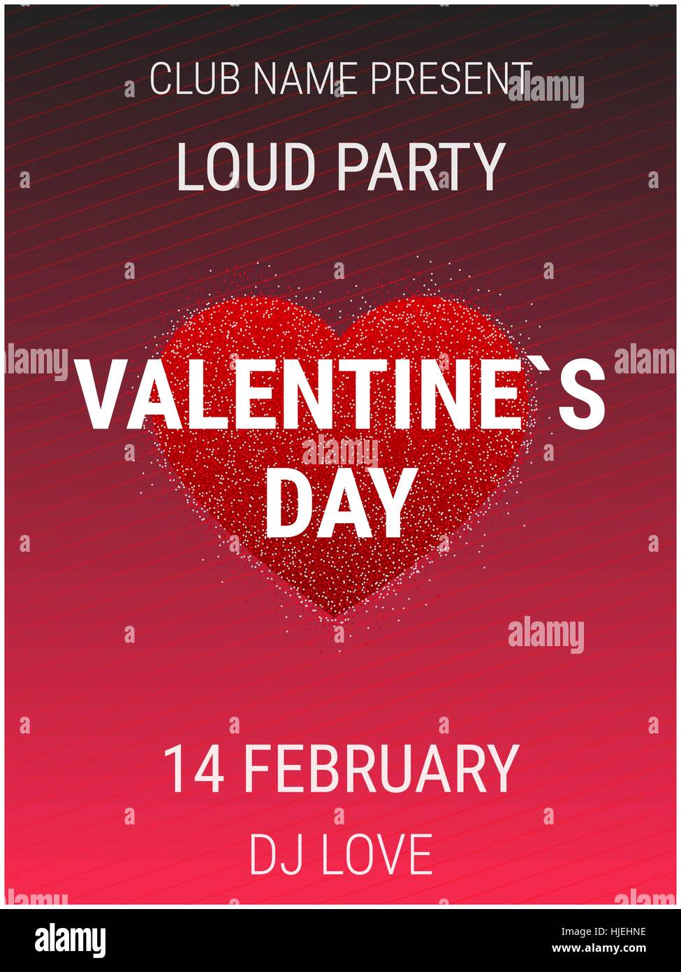 Valentines Day Party Poster Template With Shiny Glitter Heart Stock