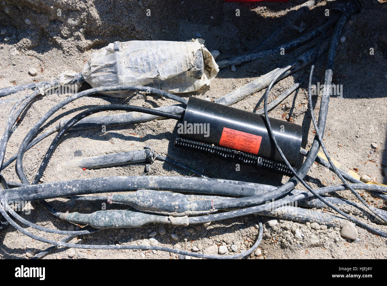 : Cable sockets of a fiber optic cable on a construction site, , , Germany Stock Photo