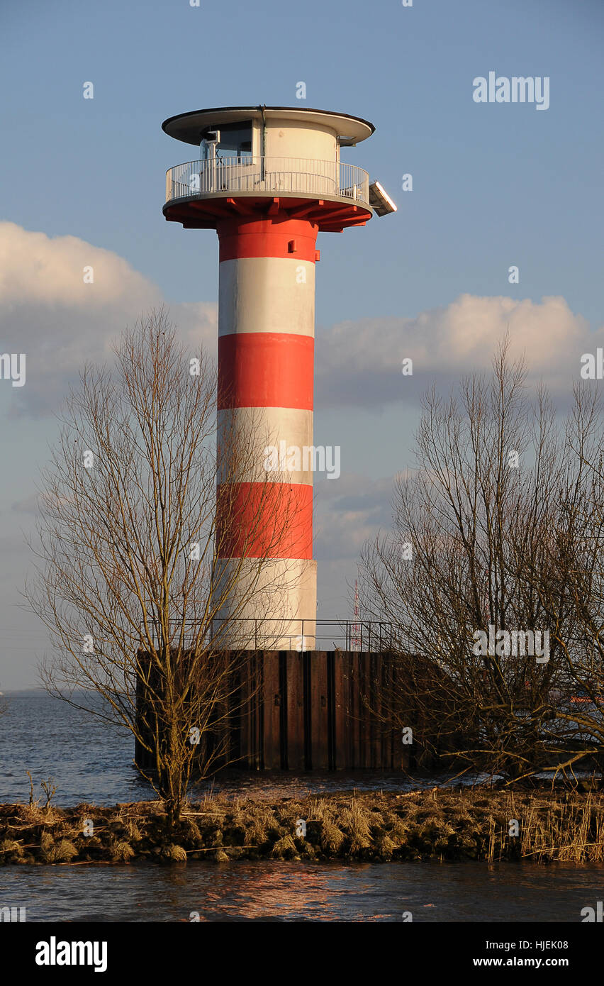 elbe, beacon, lighthouse, navigation, seafaring, striated, elbe, marking, Stock Photo