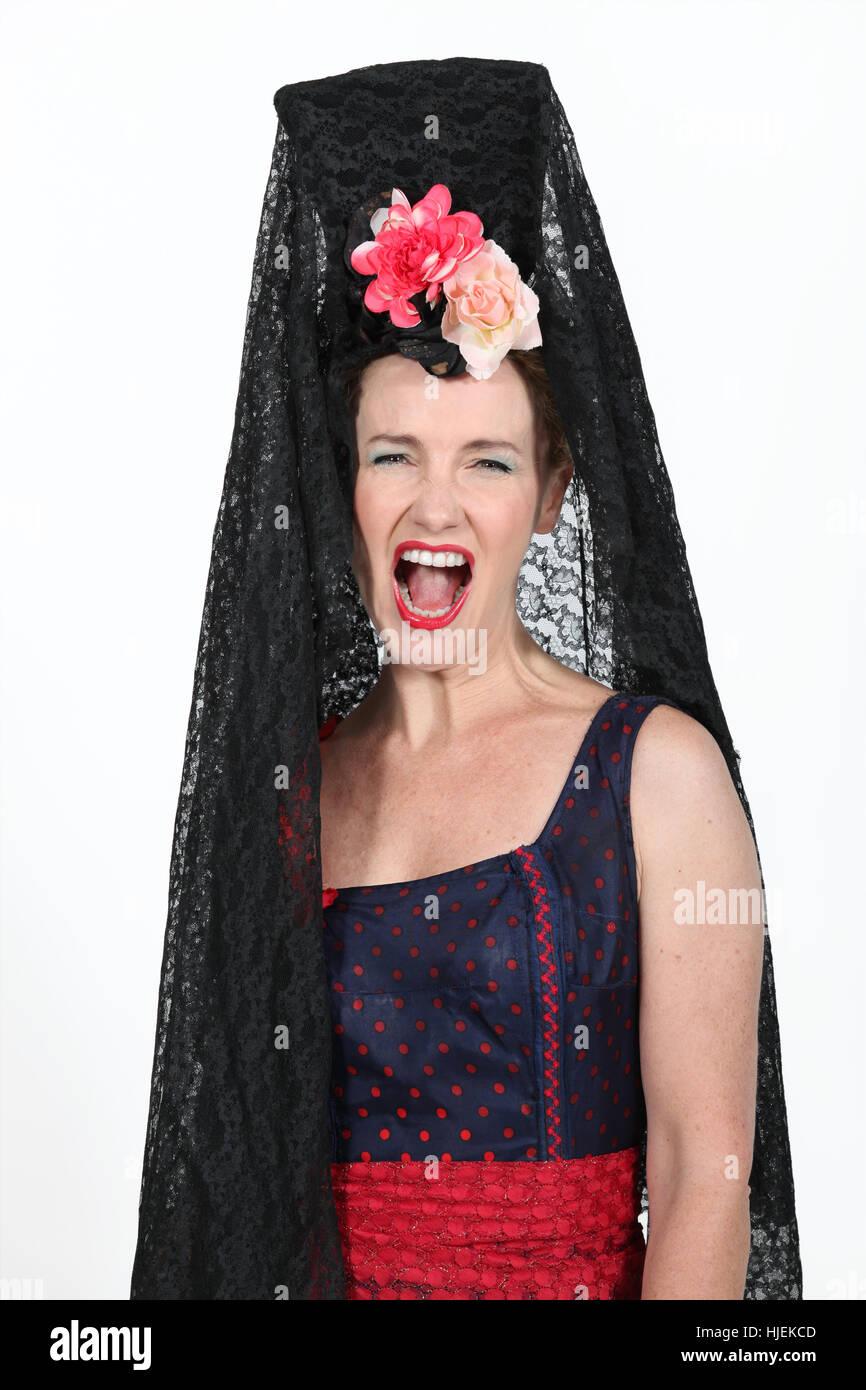 woman female costume spanish flamenco dress fancy gown woman female   sc 1 st  Alamy & woman female costume spanish flamenco dress fancy gown woman ...