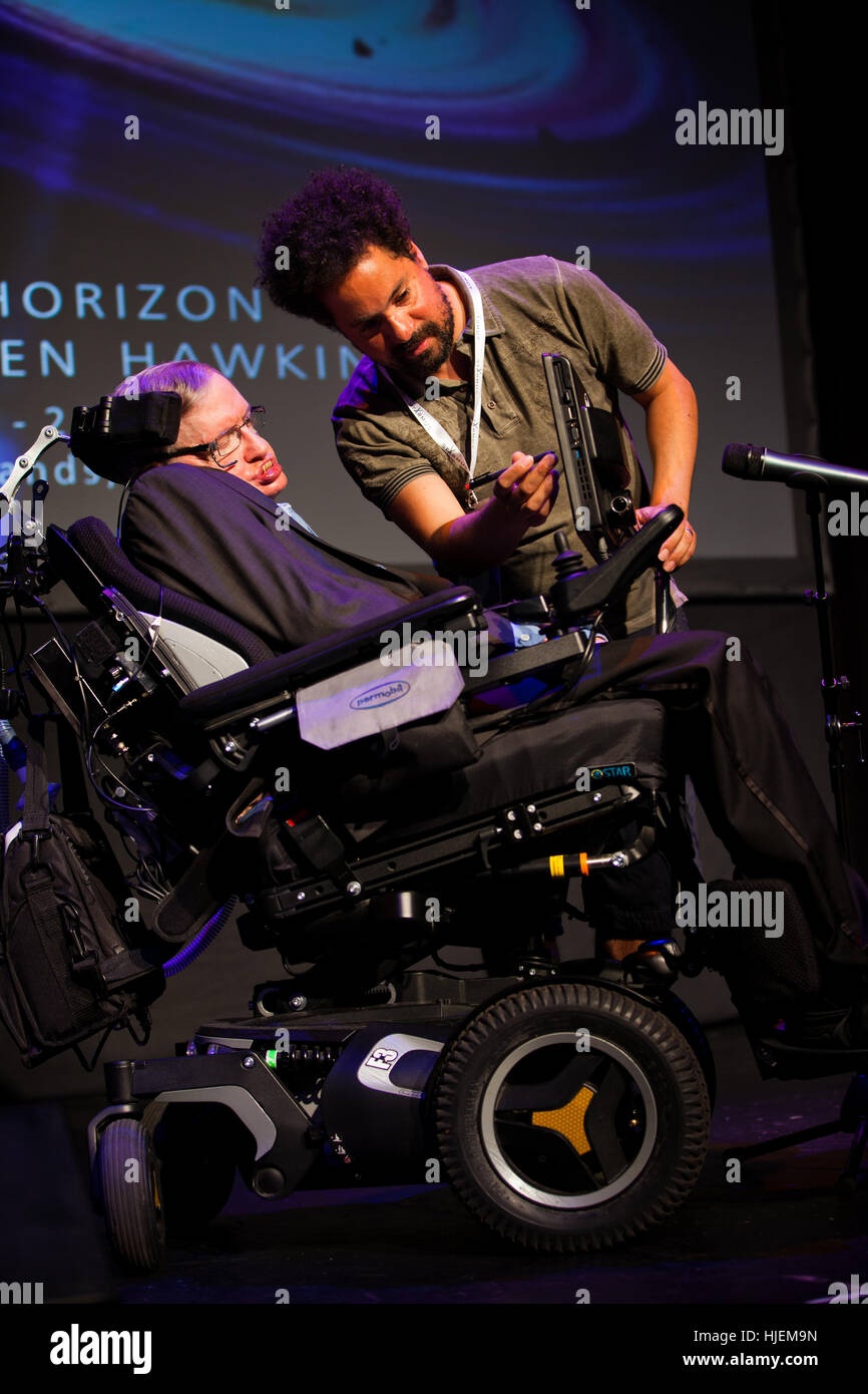 Prof. Stephen Hawking, British scientist, world renowned physicist  portrait with his assistant, Starmus festival Stock Photo