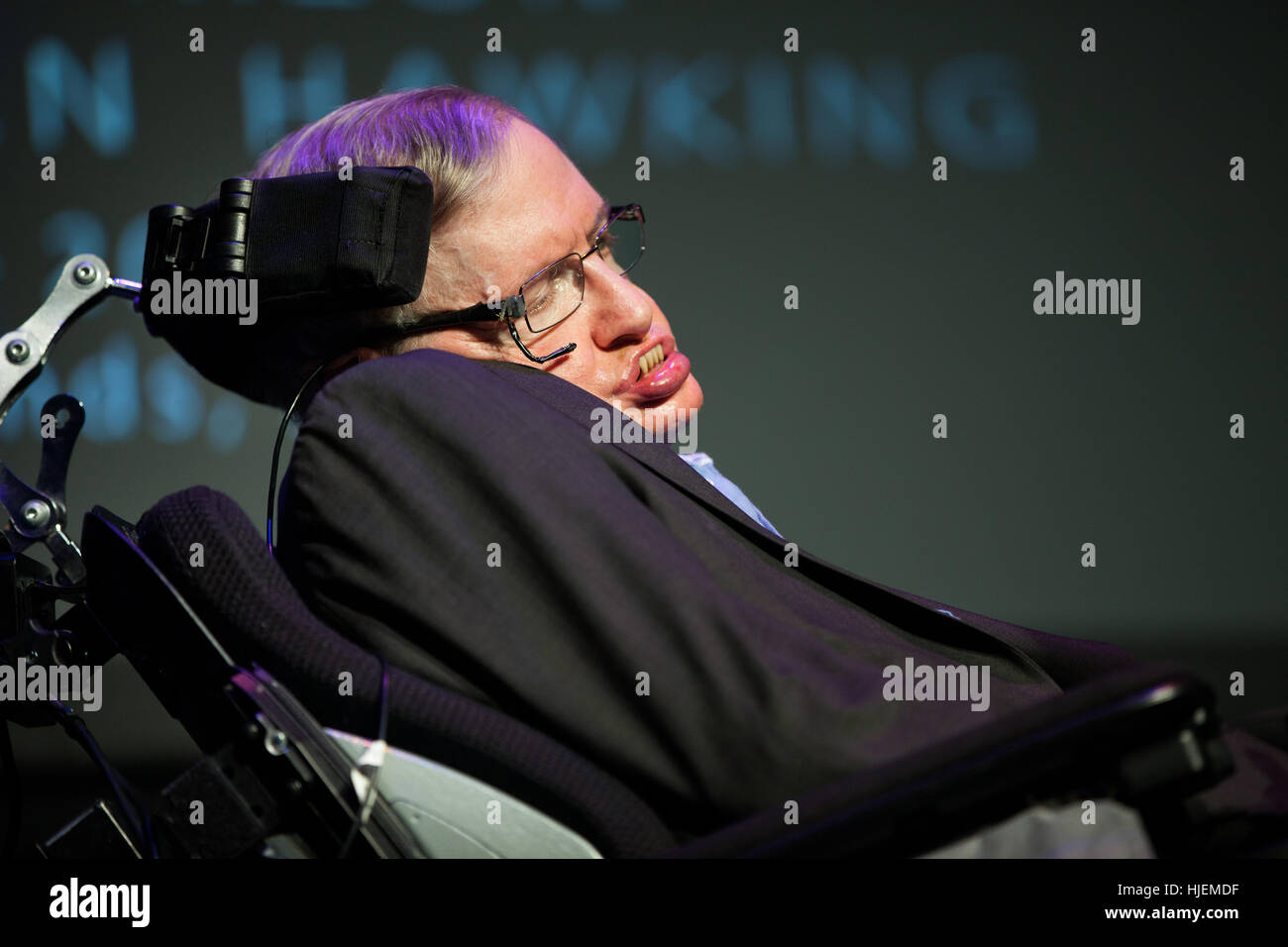 Prof. Stephen Hawking, British scientist, world renowned physicist  portrait, Starmus festival 2016 Tenerife Stock Photo