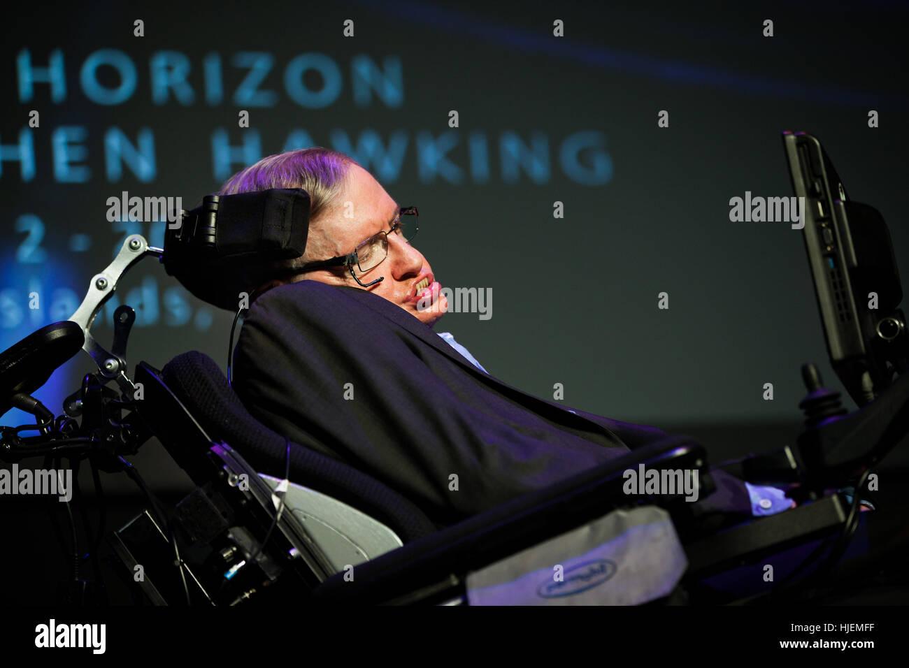 Prof. Stephen Hawking, British scientist, world renowned physicist  portrait, Starmus festival 2016 Tenerife - Stock Image