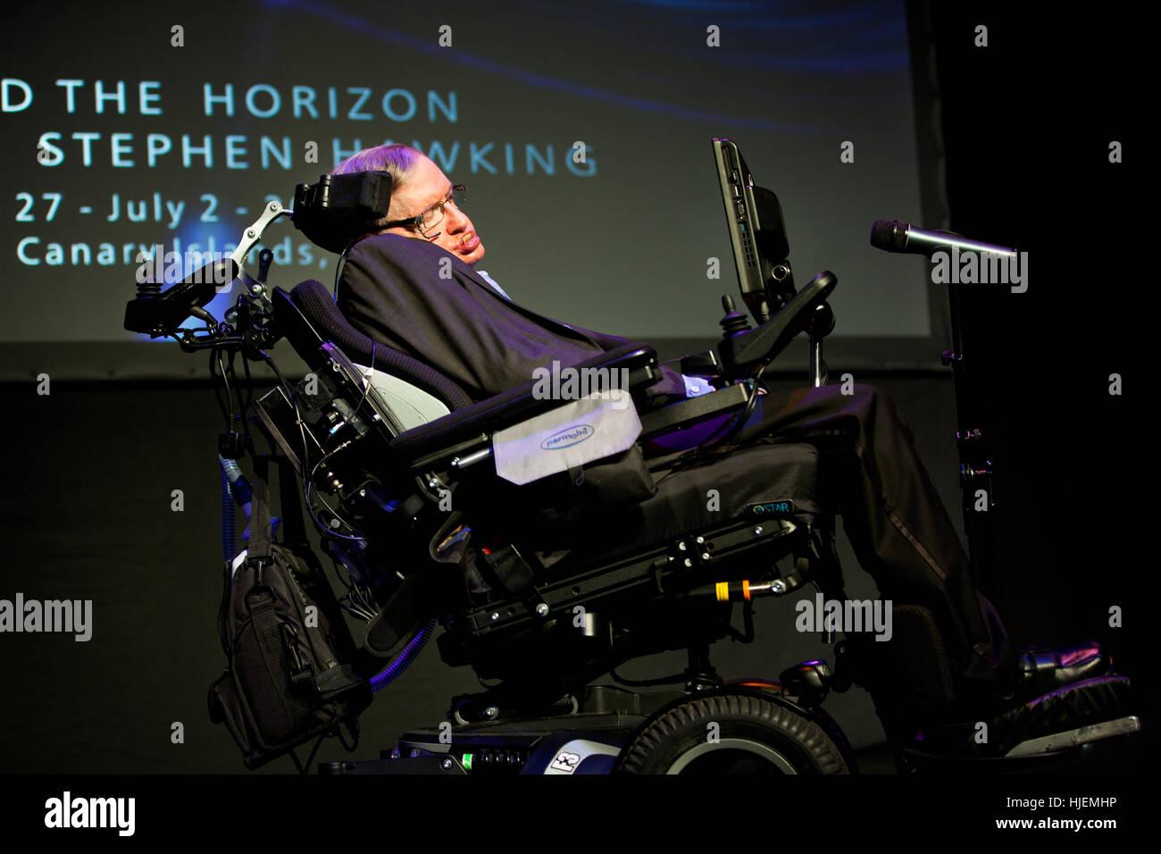 Prof. Stephen Hawking, British scientist, world renowned physicist  portrait, Starmus festival 2016 Tenerife Stock Photo