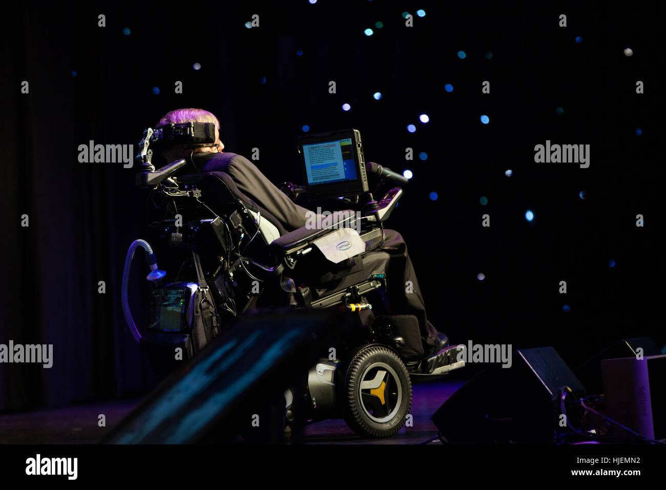 Prof. Stephen Hawking, British scientist, world renowned physicist watching stars symbolic portrait, Starmus festival - Stock Image
