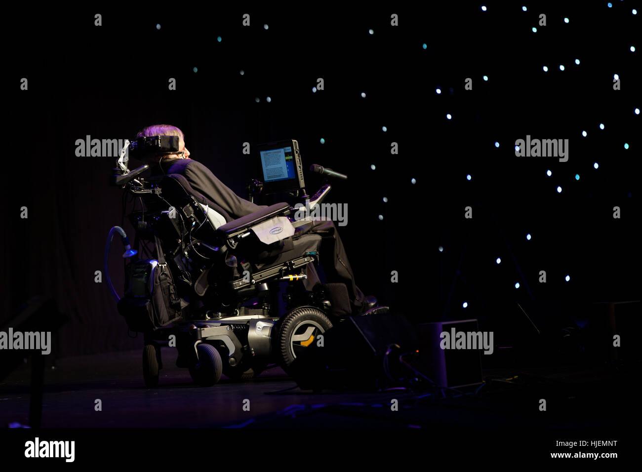 Prof. Stephen Hawking, British scientist, world renowned physicist watching stars symbolic portrait, Starmus festival Stock Photo