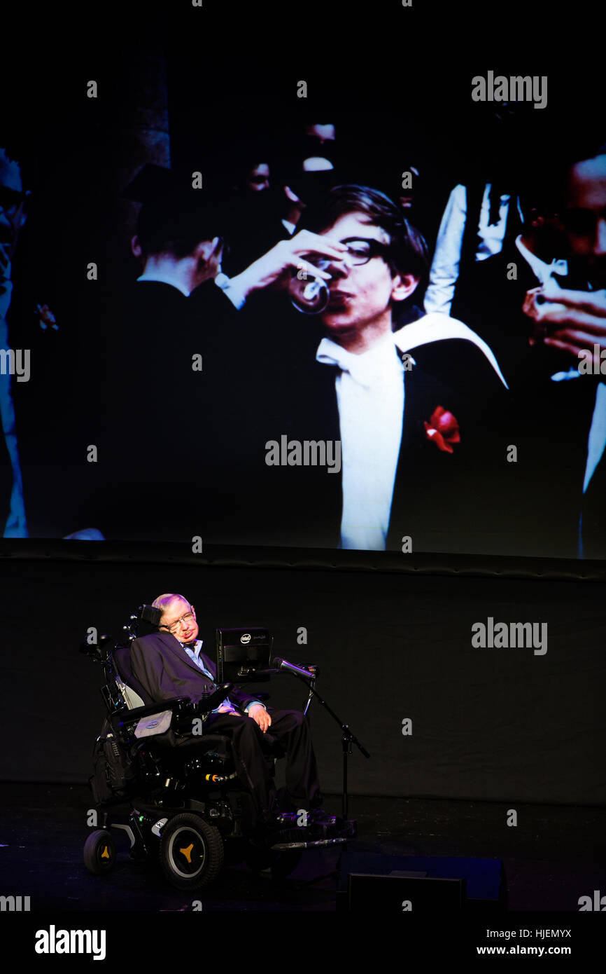 Stephen Hawking, British scientist, world renowned physicist portrait with college pictures from his young age in Stock Photo