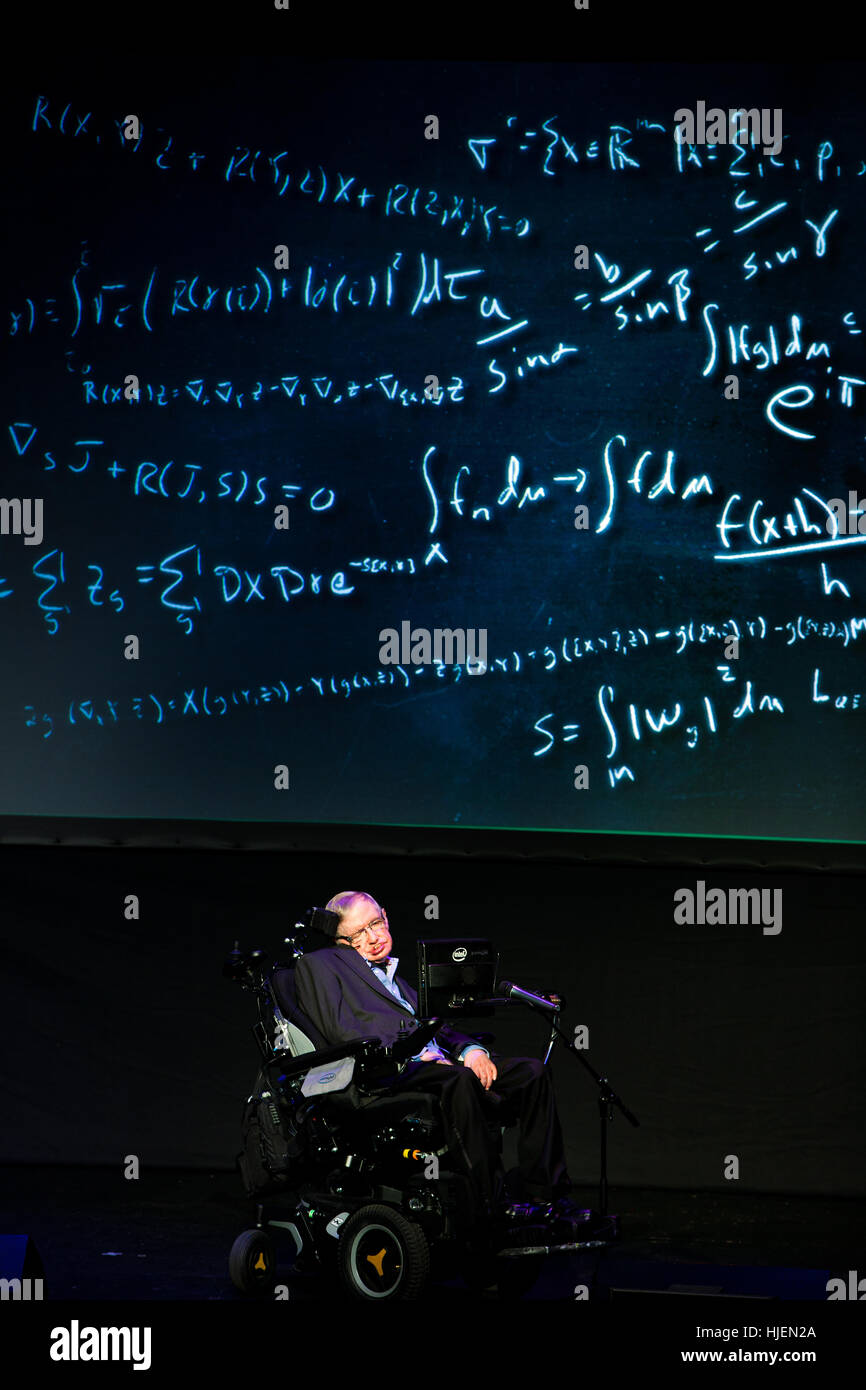 Prof. Stephen Hawking, British scientist, world renowned physicist portrait with mathematical formulas in the background, Stock Photo